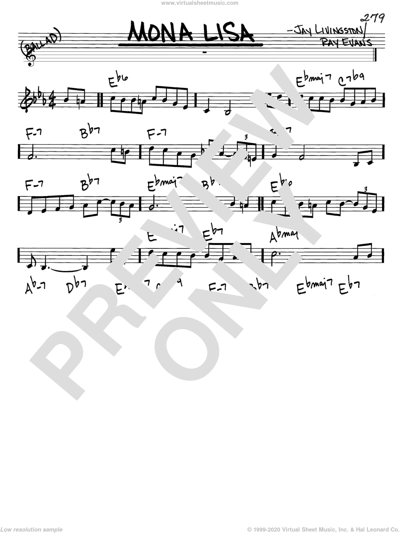 Mona Lisa sheet music for voice and other instruments (in C) by Nat King Cole, Jay Livingston and Ray Evans, intermediate. Score Image Preview.