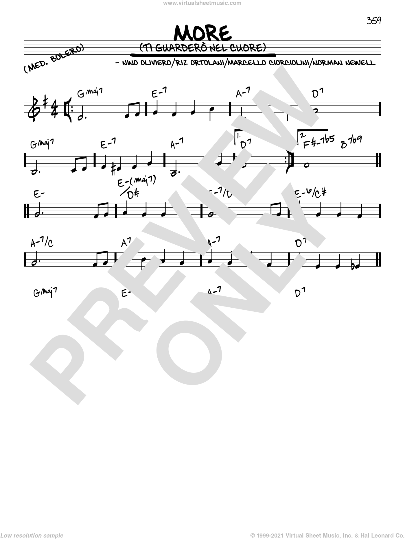 More (Ti Guardero Nel Cuore) sheet music for voice and other instruments (in C) by Marcello Ciorciolini, Nino Oliviero, Norman Newell and Riz Ortolani, intermediate skill level