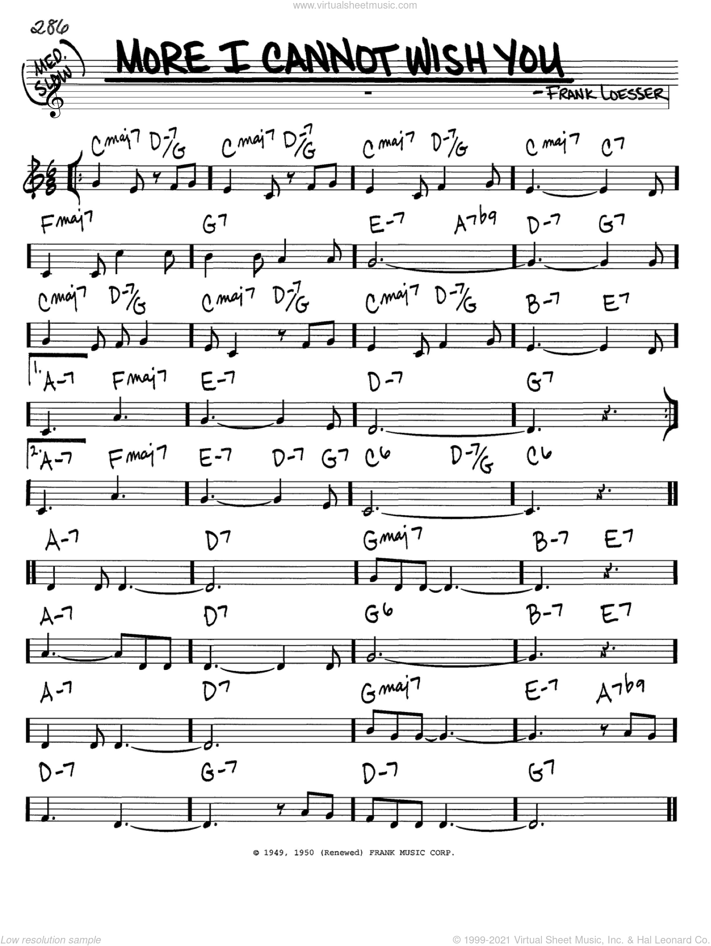 More I Cannot Wish You sheet music for voice and other instruments (in C) by Frank Loesser, intermediate skill level
