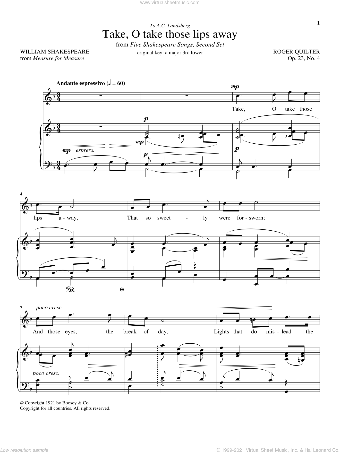Take, O Take Those Lips Away, Op. 23, No. 4 sheet music for voice and piano (Tenor) by William Shakespeare and Roger Quilter, classical score, intermediate skill level