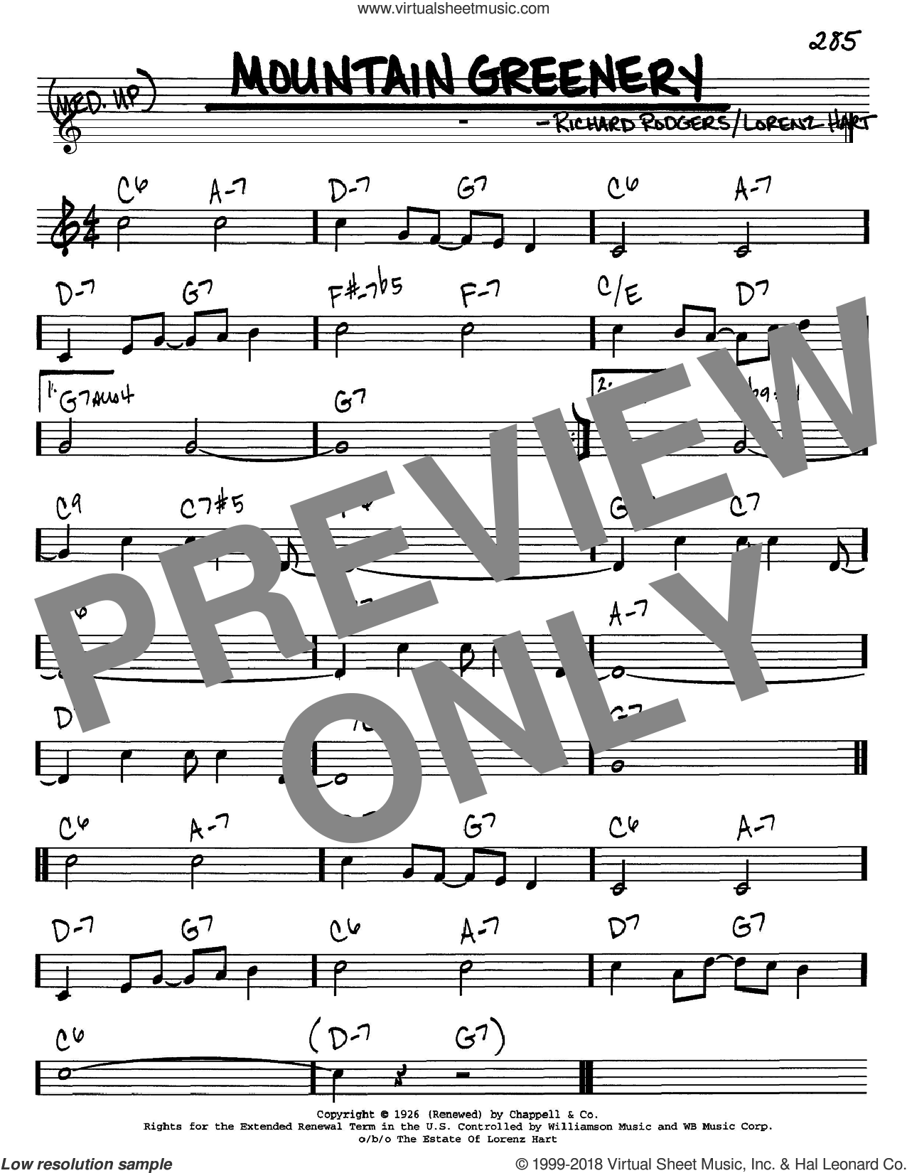 Mountain Greenery sheet music for voice and other instruments (C) by Richard Rodgers
