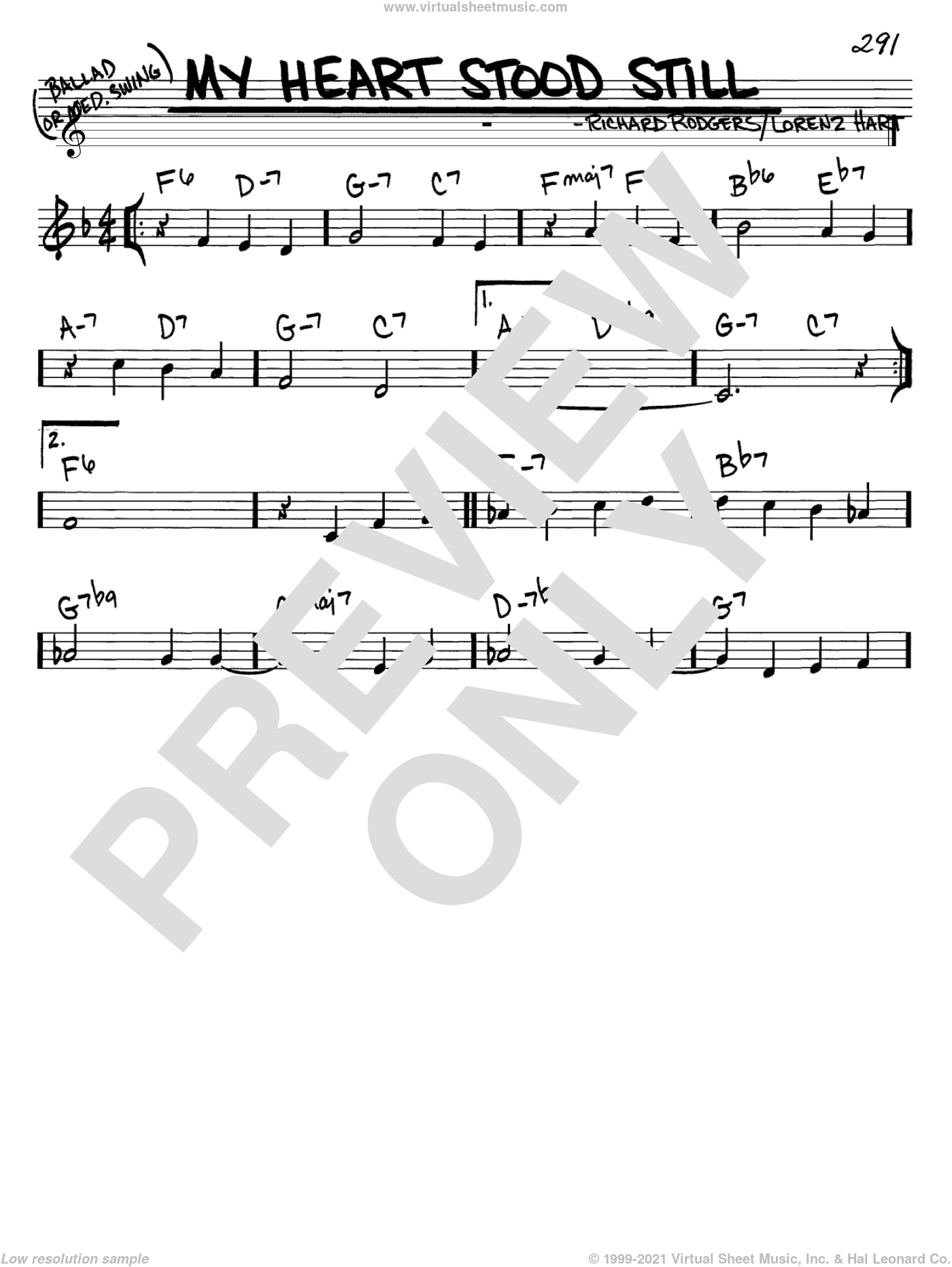 My Heart Stood Still sheet music for voice and other instruments (C) by Richard Rodgers, Rodgers & Hart and Lorenz Hart. Score Image Preview.