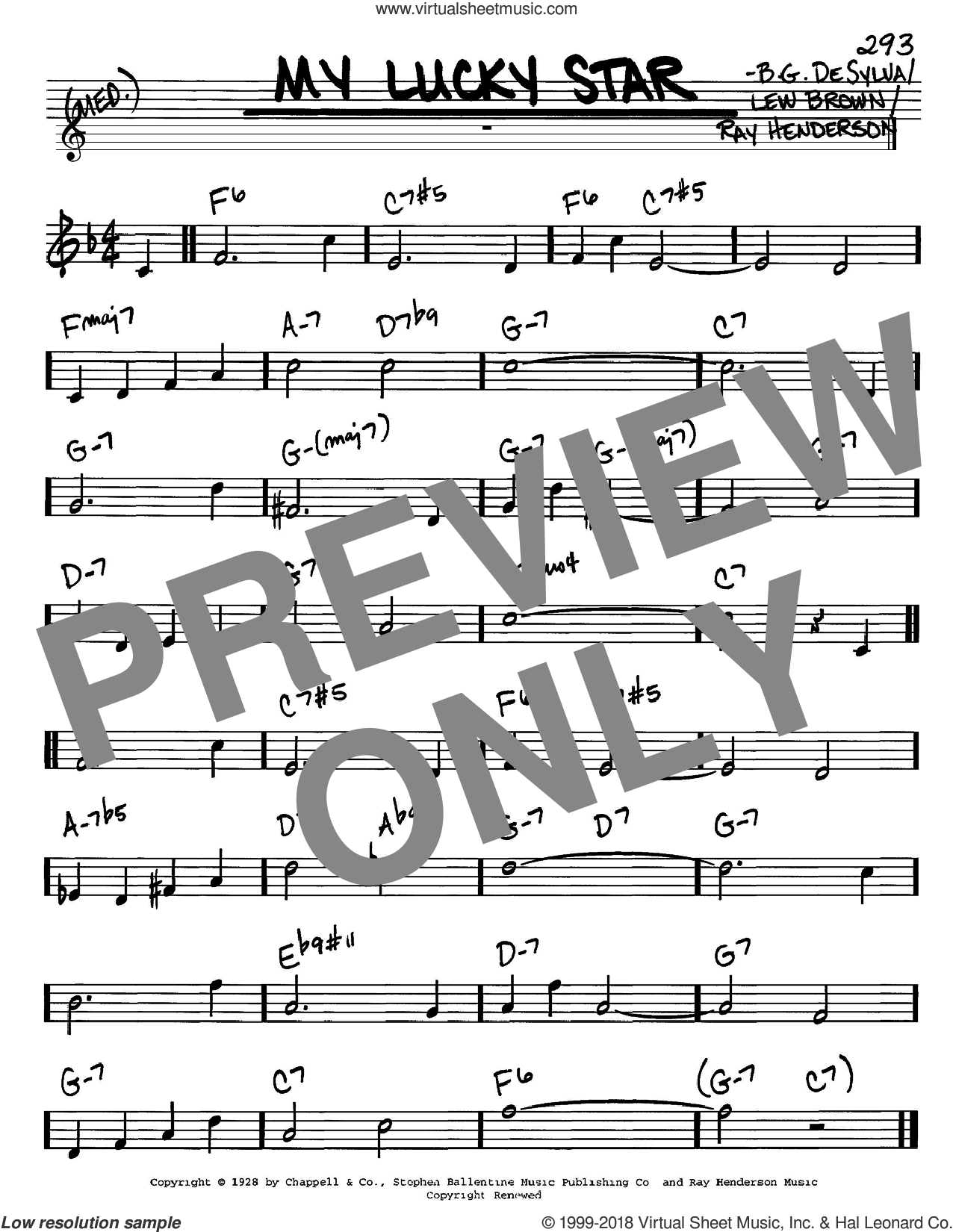 My Lucky Star sheet music for voice and other instruments (C) by Ray Henderson, Buddy DeSylva and Lew Brown. Score Image Preview.