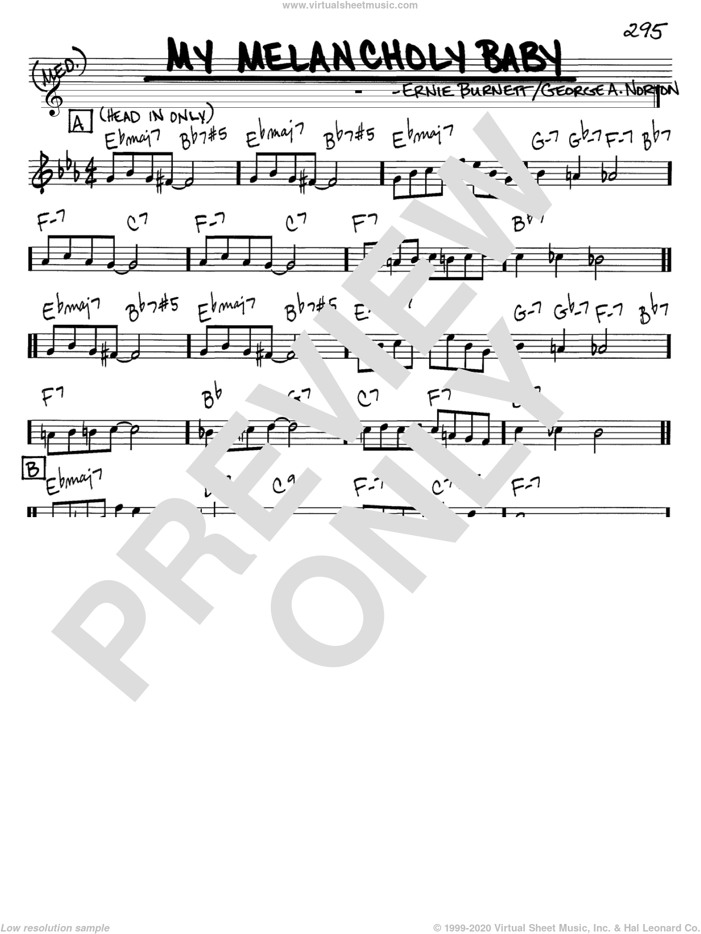 My Melancholy Baby sheet music for voice and other instruments (C) by George A. Norton