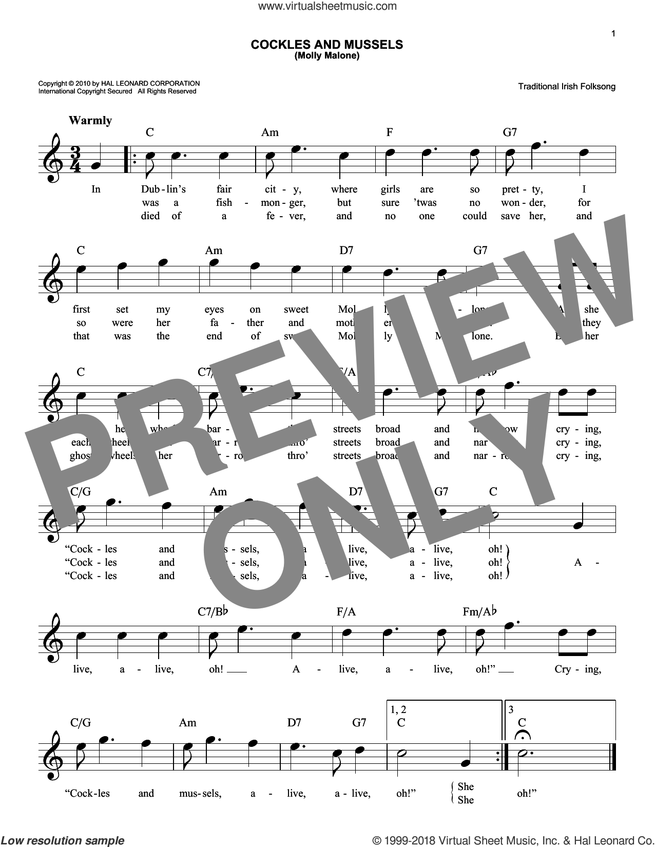 Cockles And Mussels (Molly Malone) sheet music for voice and other instruments (fake book) by Traditional Irish Folksong, intermediate skill level