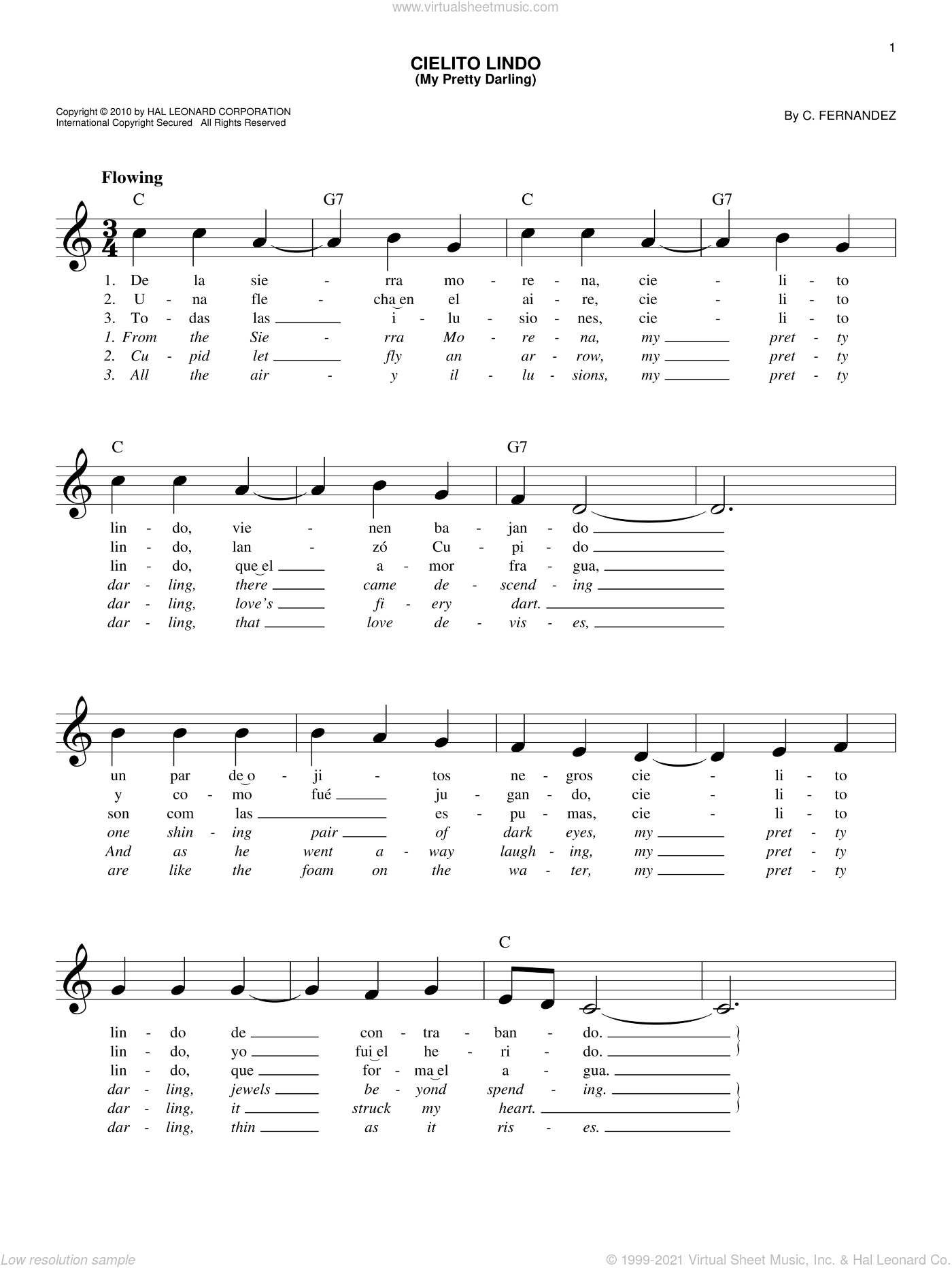 Cielito Lindo (My Pretty Darling) sheet music for voice and other instruments (fake book) by Cortez Fernandez, intermediate skill level