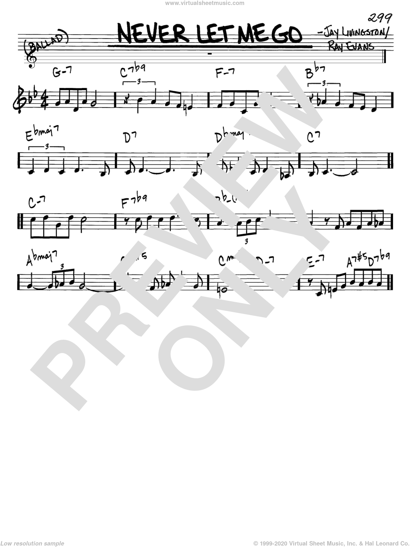 Never Let Me Go sheet music for voice and other instruments (in C) by Dinah Washington, Jay Livingston and Ray Evans, intermediate. Score Image Preview.