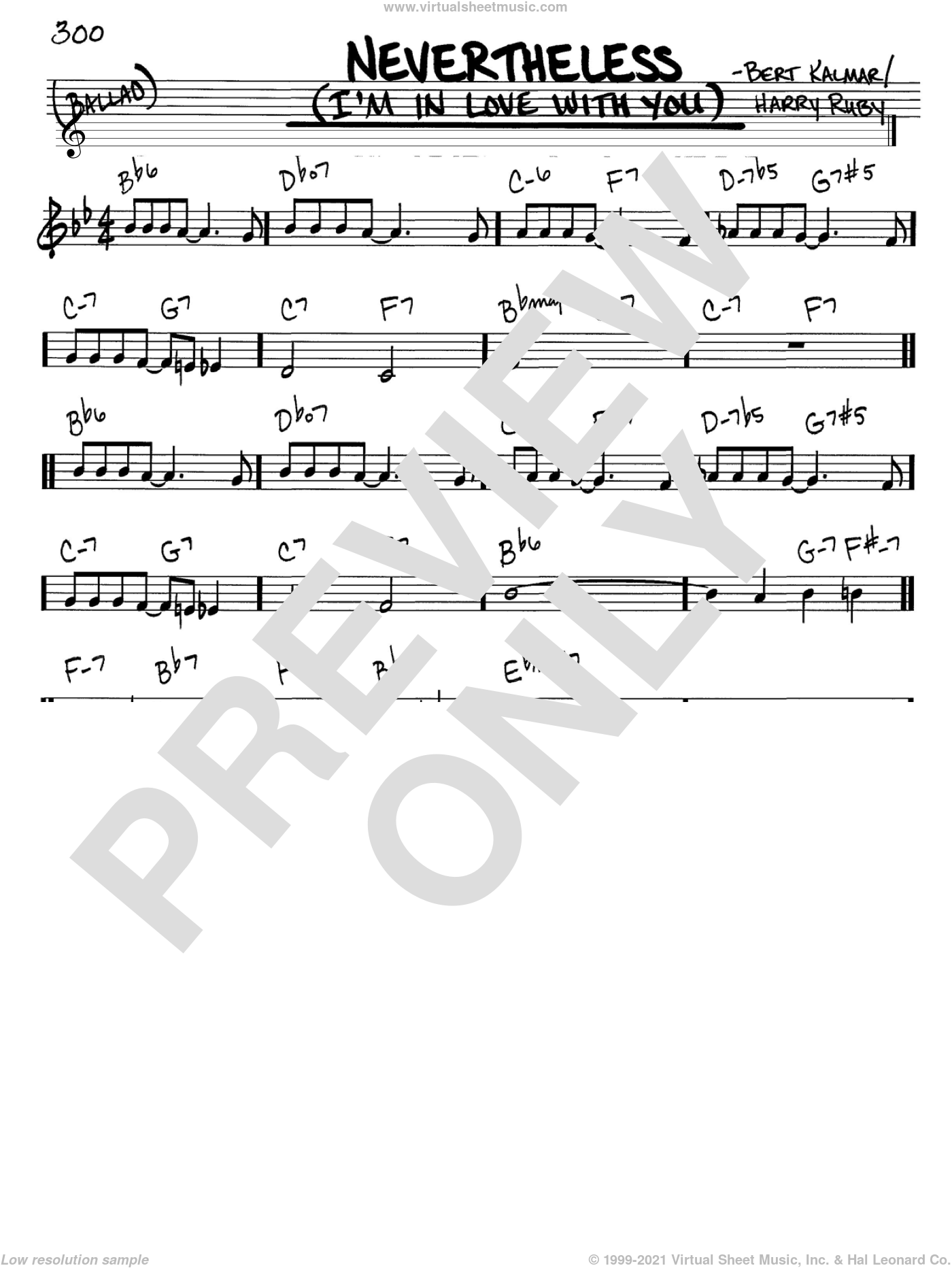 Nevertheless (I'm In Love With You) sheet music for voice and other instruments (C) by Bert Kalmar and Harry Ruby. Score Image Preview.