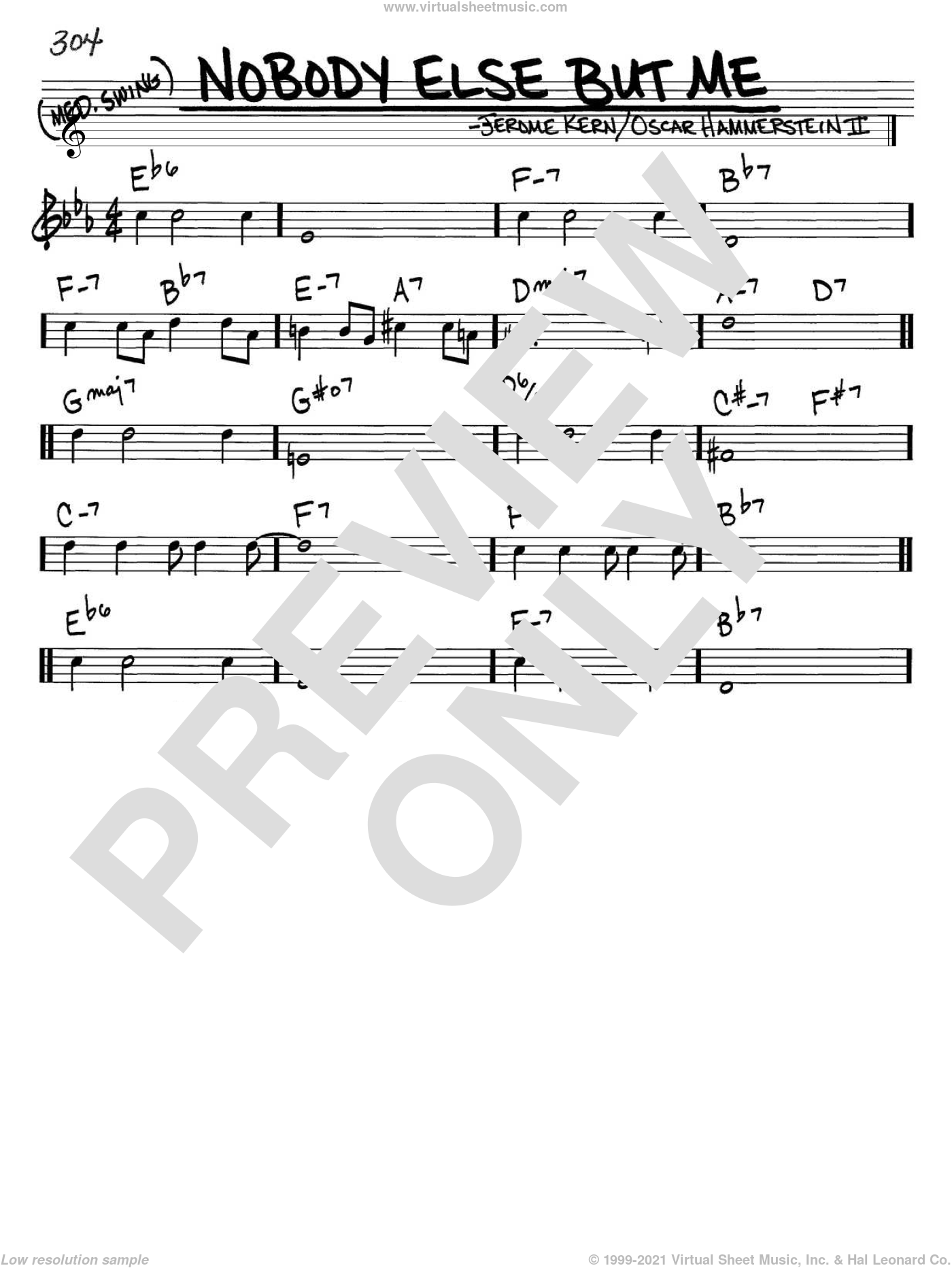 Nobody Else But Me sheet music for voice and other instruments (in C) by Jerome Kern and Oscar II Hammerstein, intermediate. Score Image Preview.