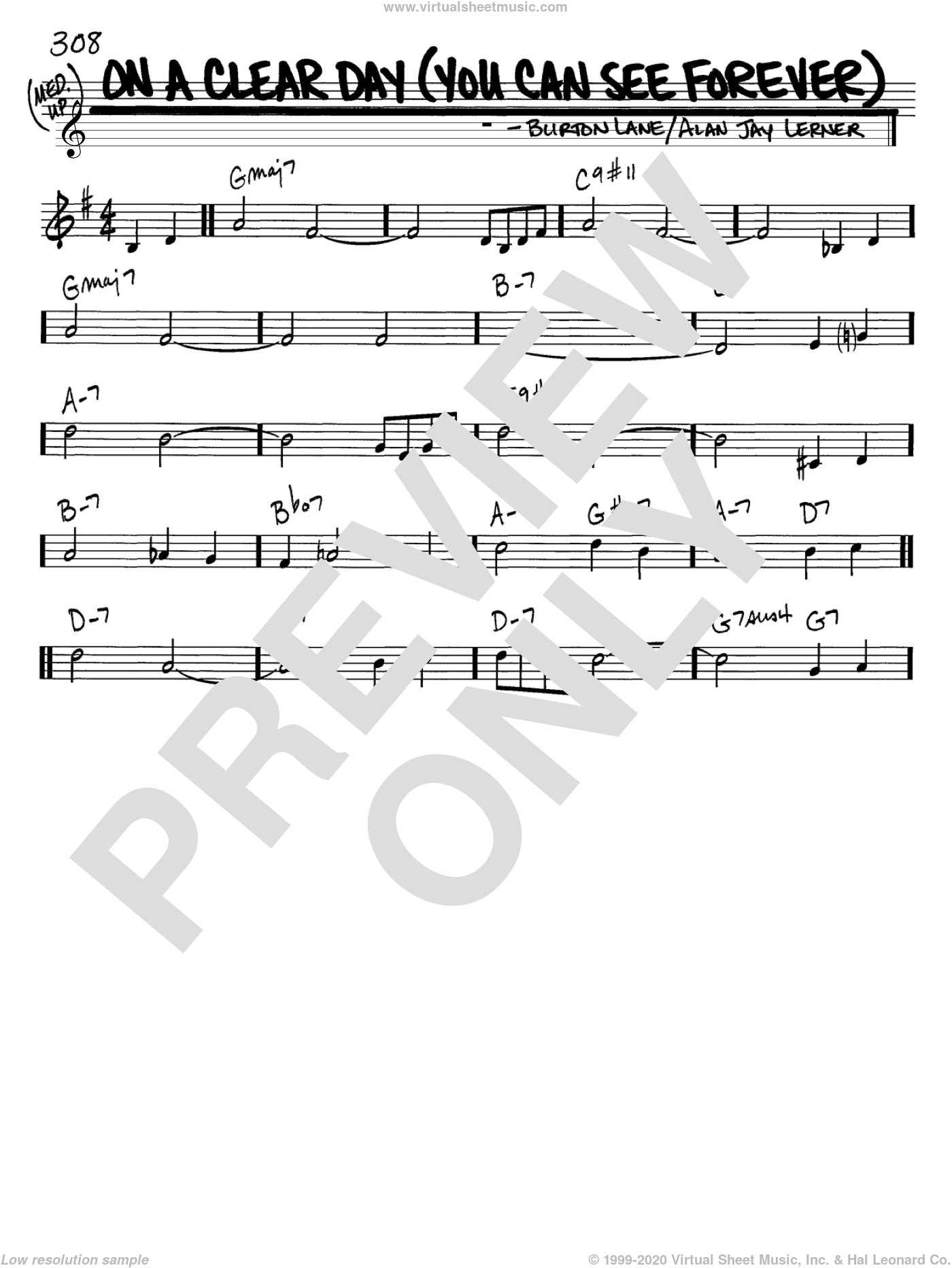 On A Clear Day (You Can See Forever) sheet music for voice and other instruments (C) by Burton Lane and Alan Jay Lerner. Score Image Preview.