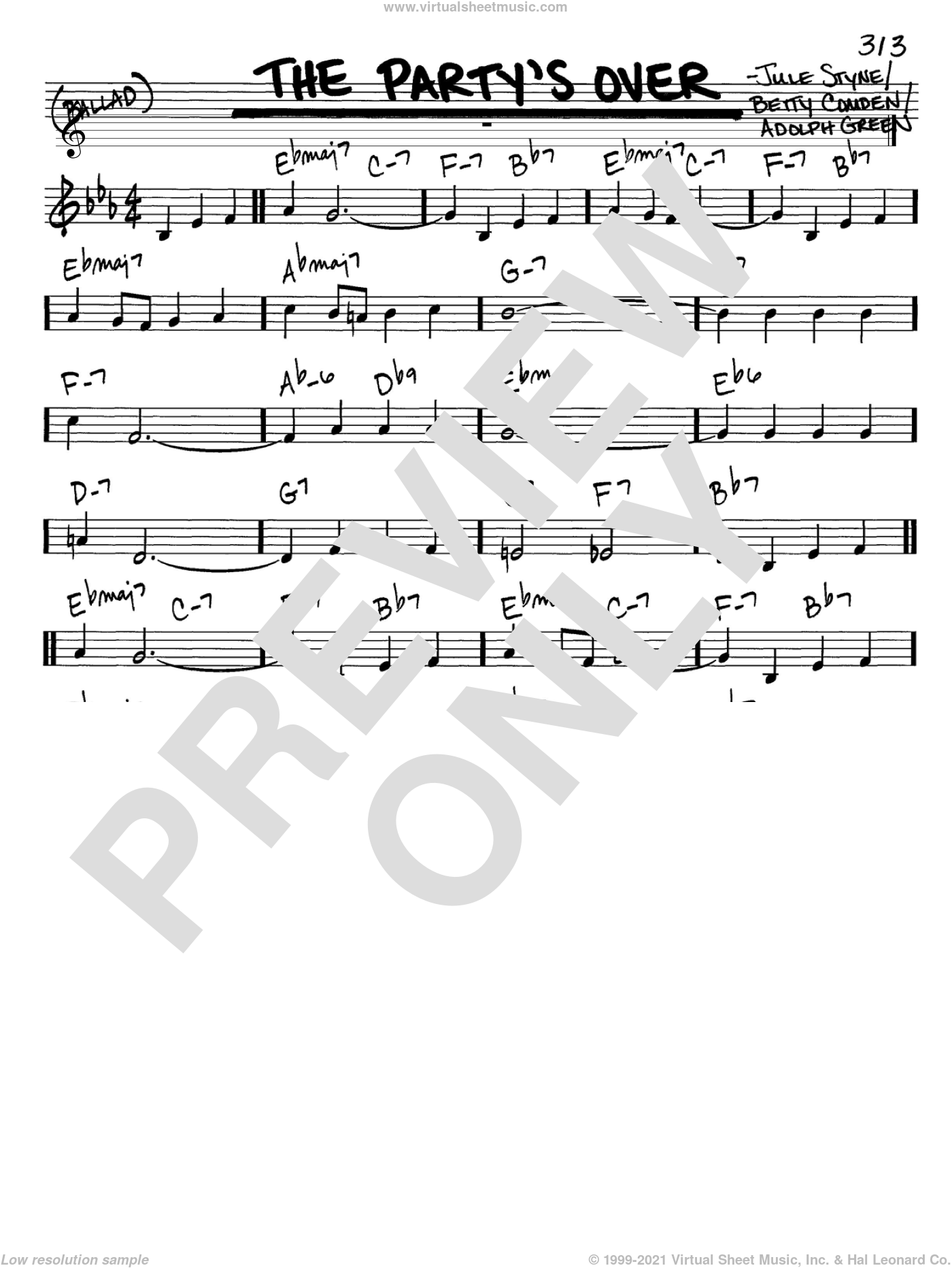 The Party's Over sheet music for voice and other instruments (C) by Jule Styne, Adolph Green and Betty Comden. Score Image Preview.