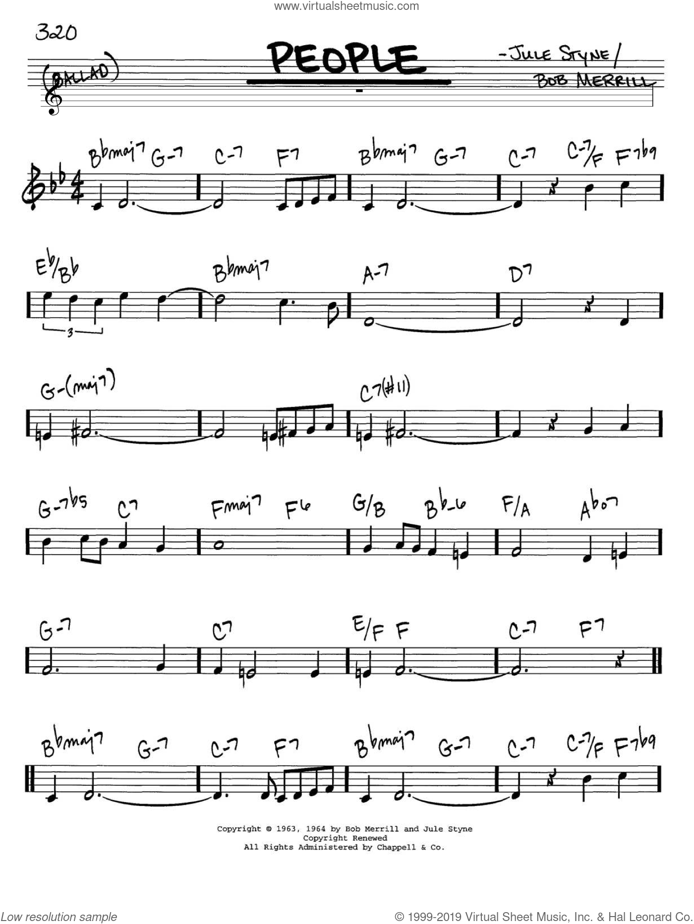 People sheet music for voice and other instruments (C) by Jule Styne