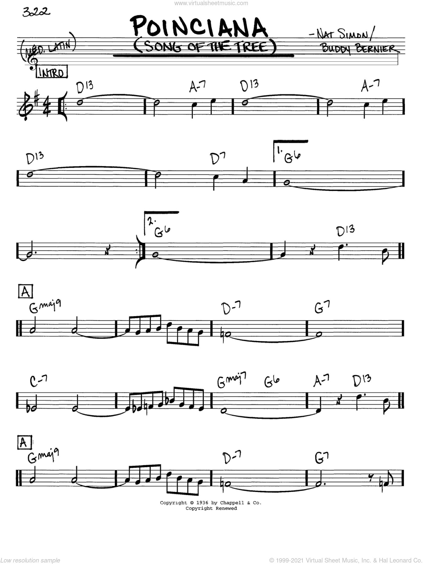 Poinciana (Song Of The Tree) sheet music for voice and other instruments (in C) by Buddy Bernier and Nat Simon, intermediate skill level