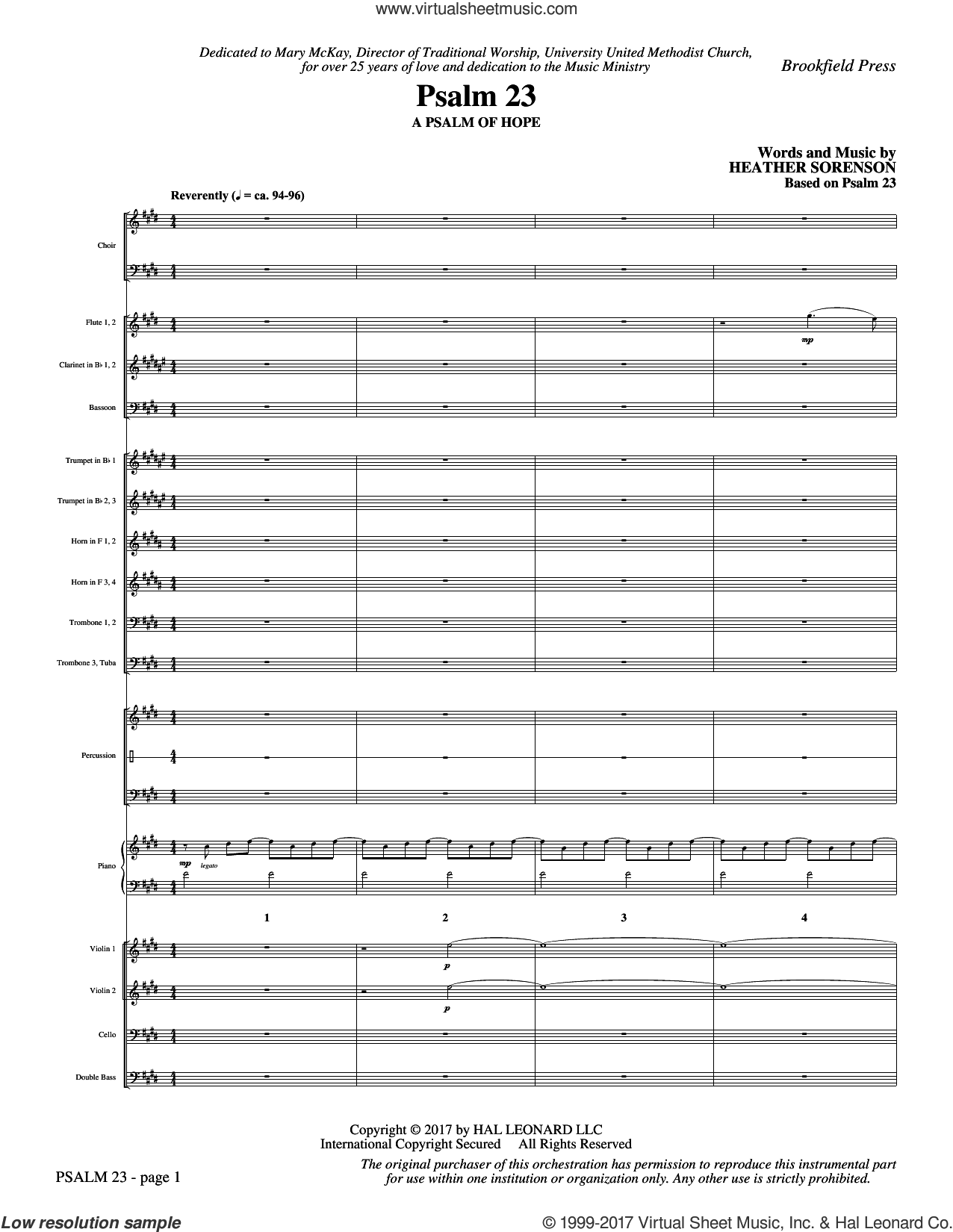 Psalm 23 (COMPLETE) sheet music for orchestra/band by Heather Sorenson and Based on Psalm 23, intermediate. Score Image Preview.