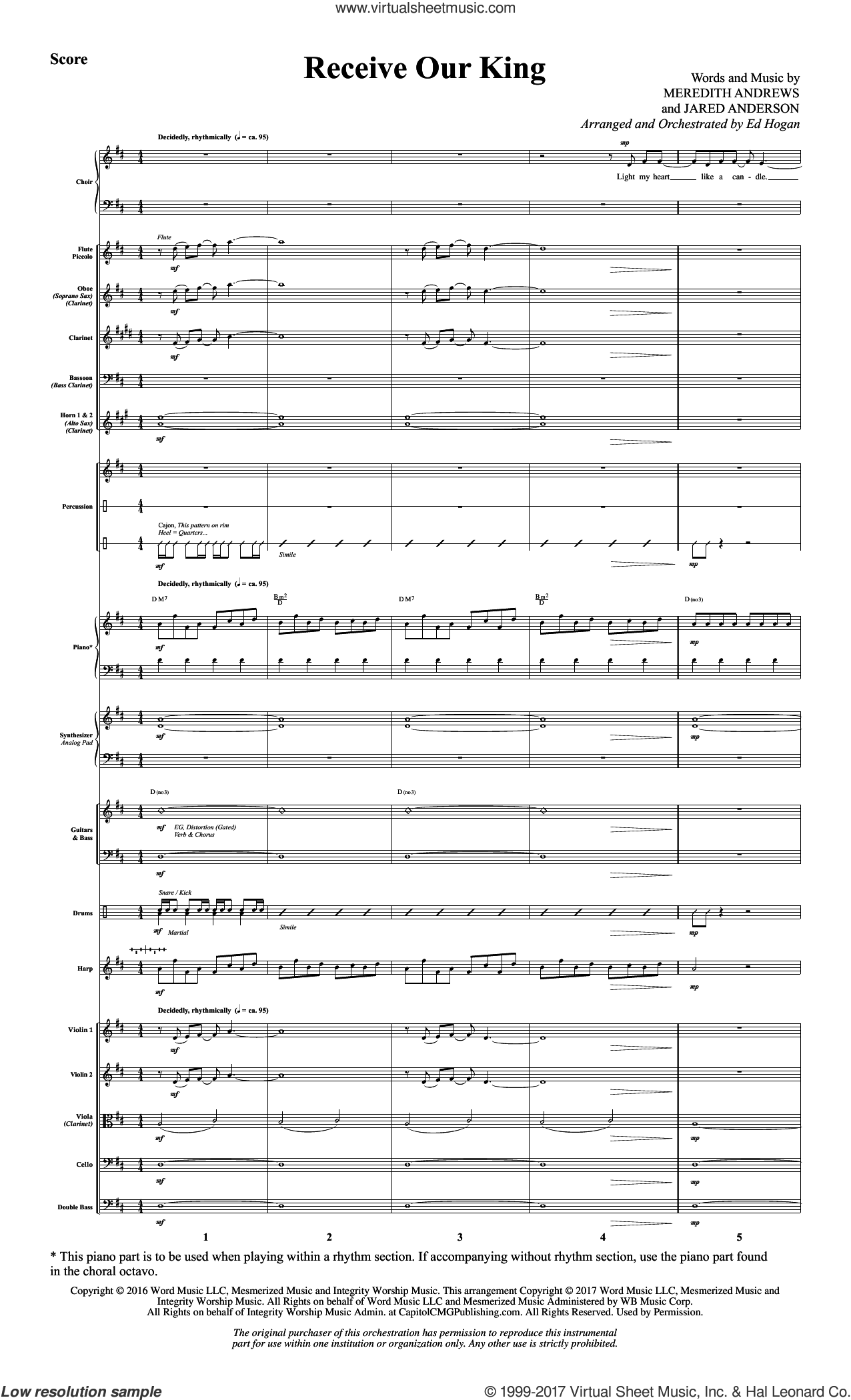 Receive Our King (COMPLETE) sheet music for orchestra/band by Ed Hogan, Jaren Anderson and Meredith Andrews, intermediate skill level