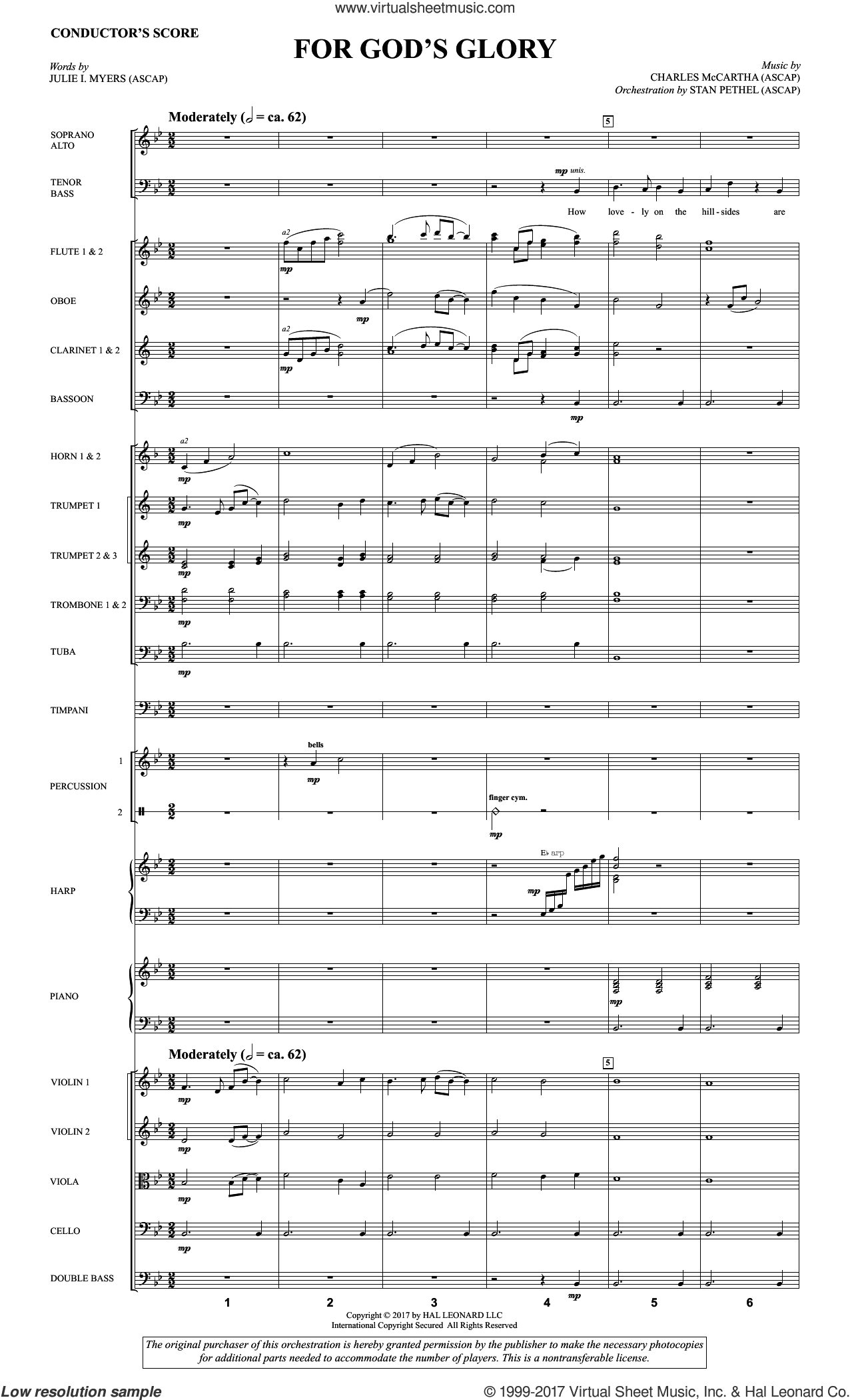 For God's Glory (COMPLETE) sheet music for orchestra/band by Charles McCartha and Julie I. Myers, intermediate skill level