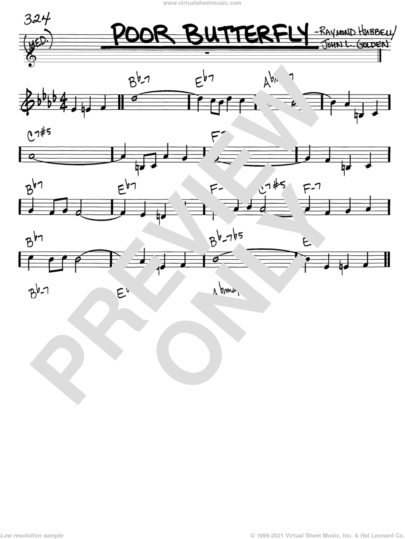 Poor Butterfly sheet music for voice and other instruments (C) by Raymond Hubbell