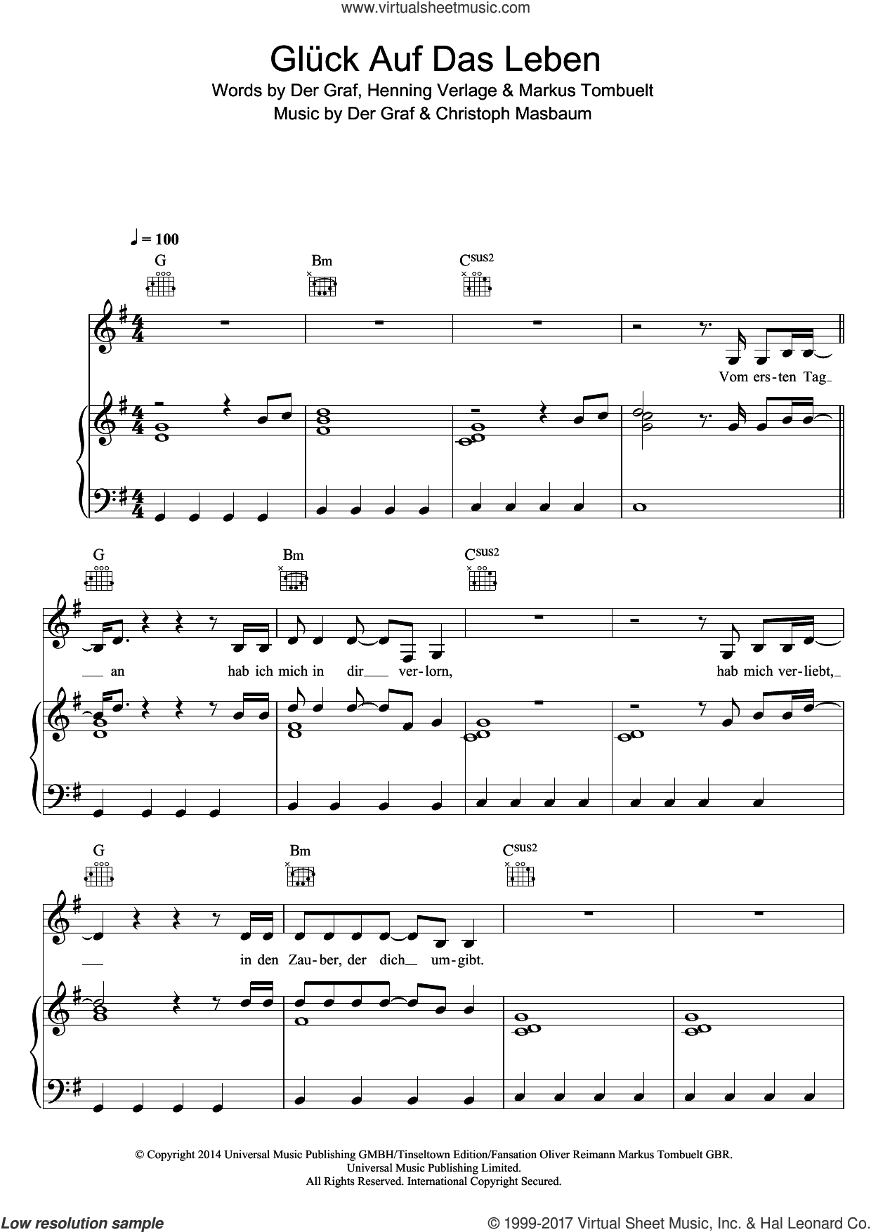Gluck Auf Das Leben sheet music for voice, piano or guitar by Unheilig. Score Image Preview.