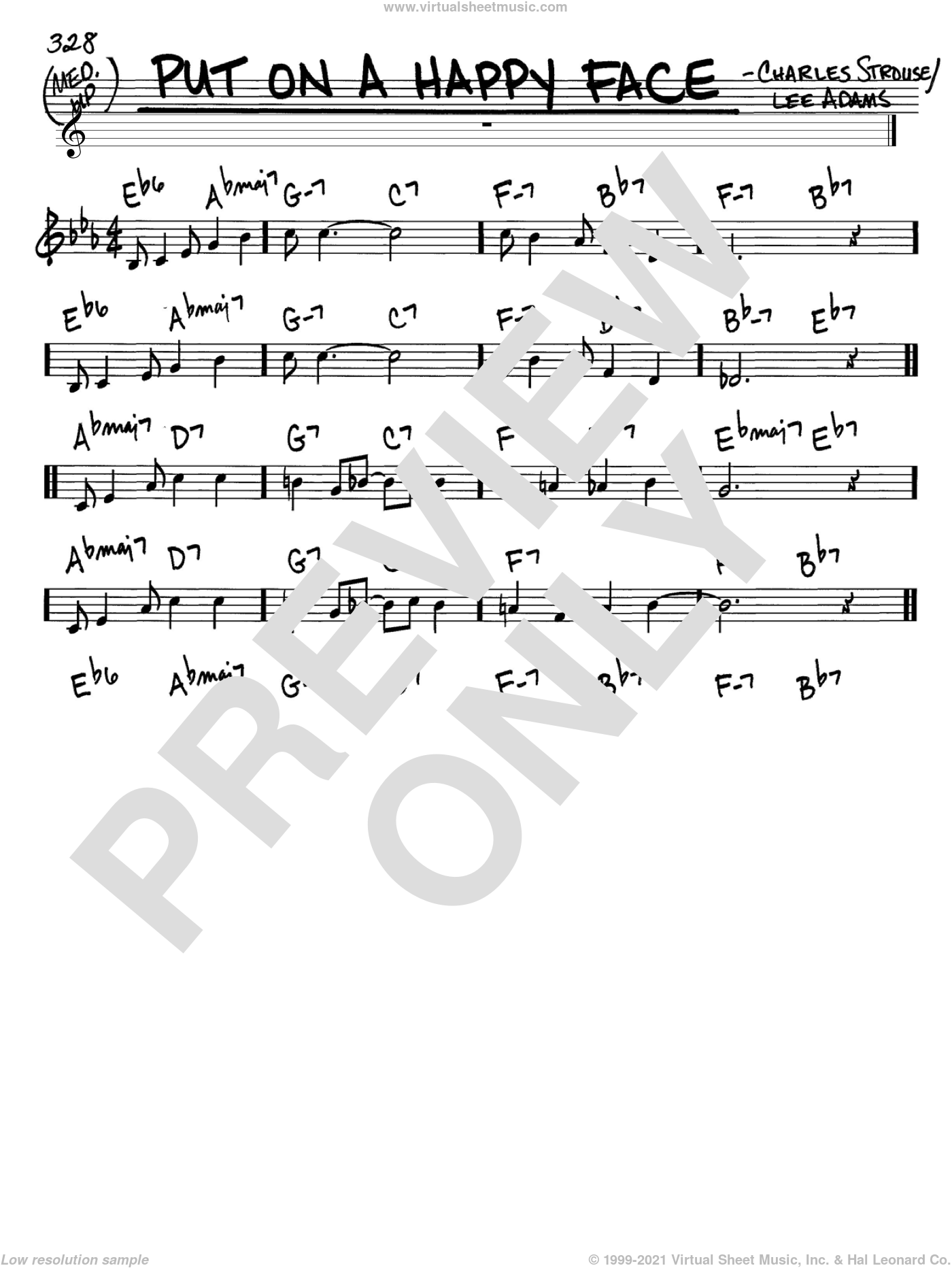 Put On A Happy Face sheet music for voice and other instruments (in C) by Charles Strouse and Lee Adams, intermediate skill level