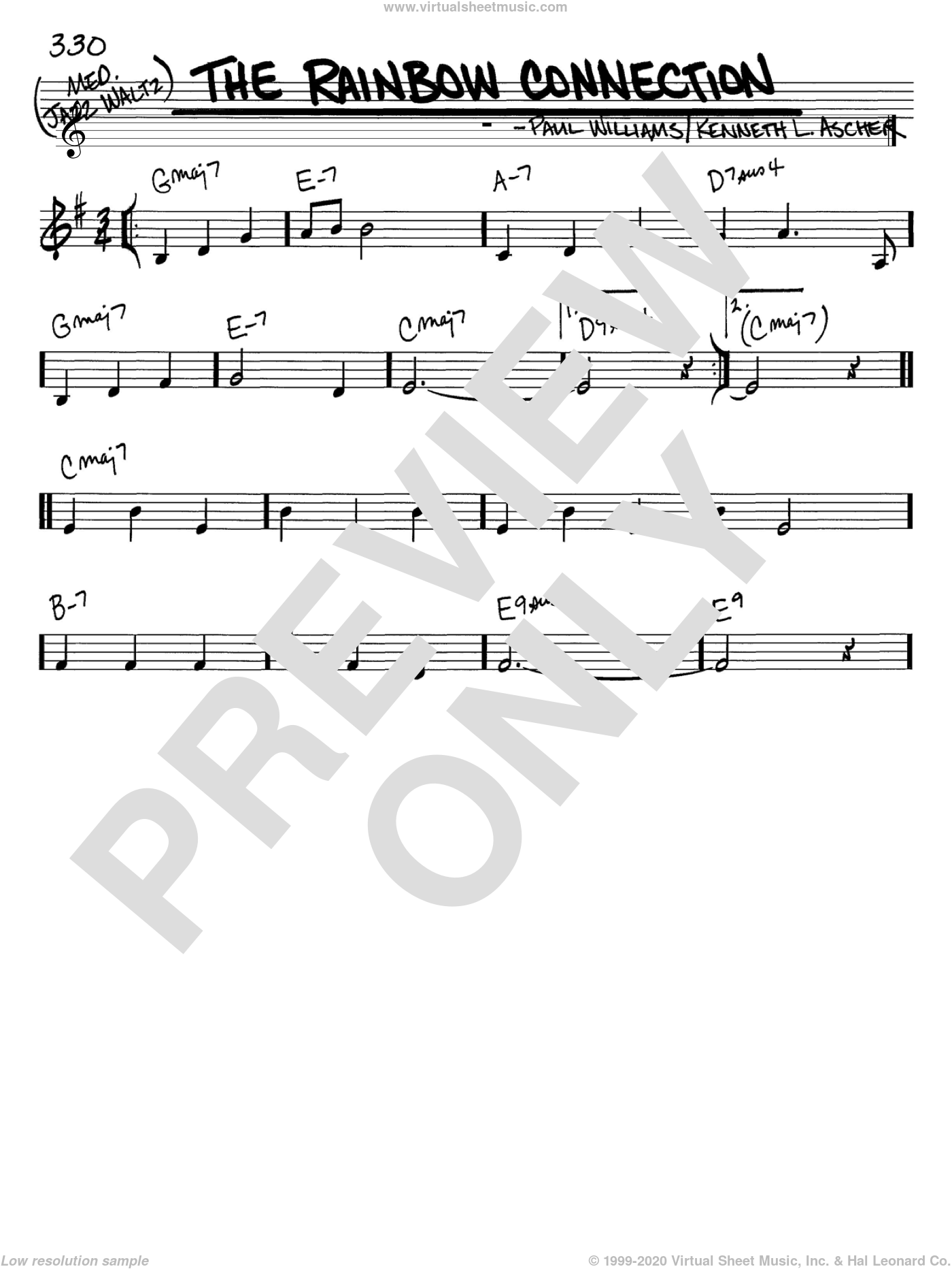 The Rainbow Connection sheet music for voice and other instruments (in C) by Paul Williams and Kenneth L. Ascher, intermediate skill level