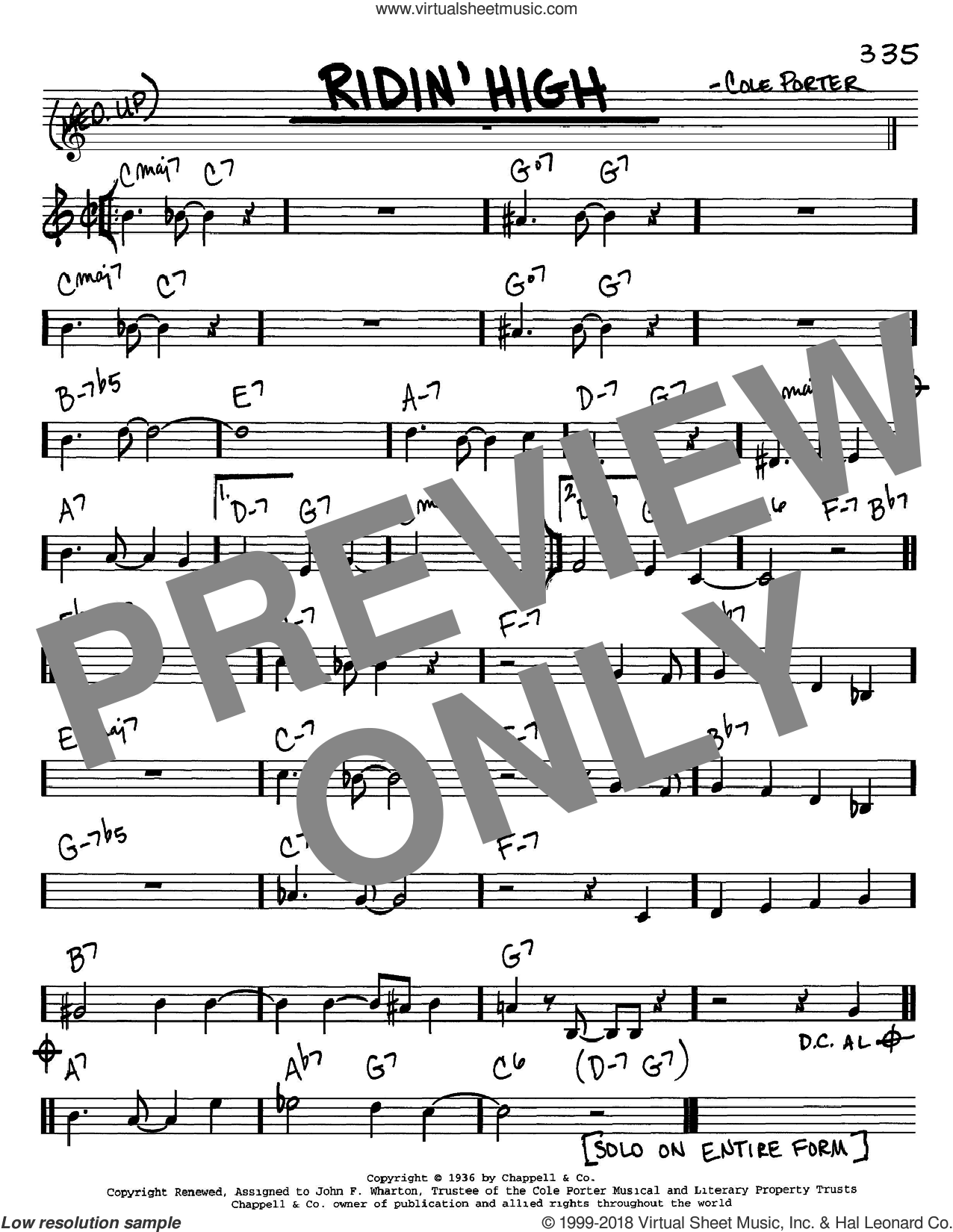 Ridin' High sheet music for voice and other instruments (C) by Cole Porter. Score Image Preview.
