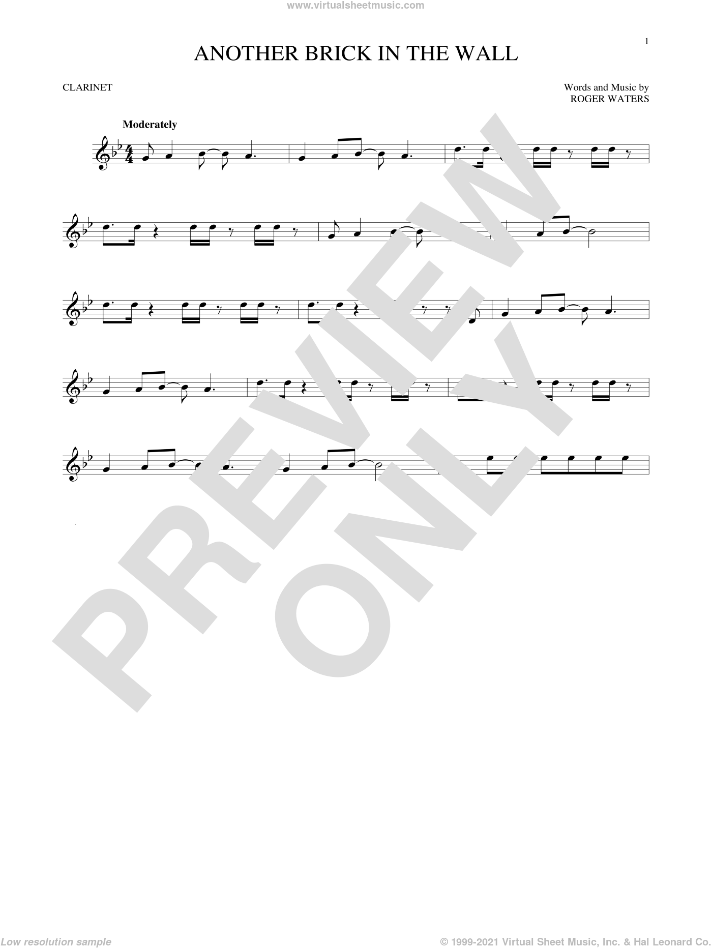Another Brick In The Wall sheet music for clarinet solo by Pink Floyd and Roger Waters, intermediate skill level