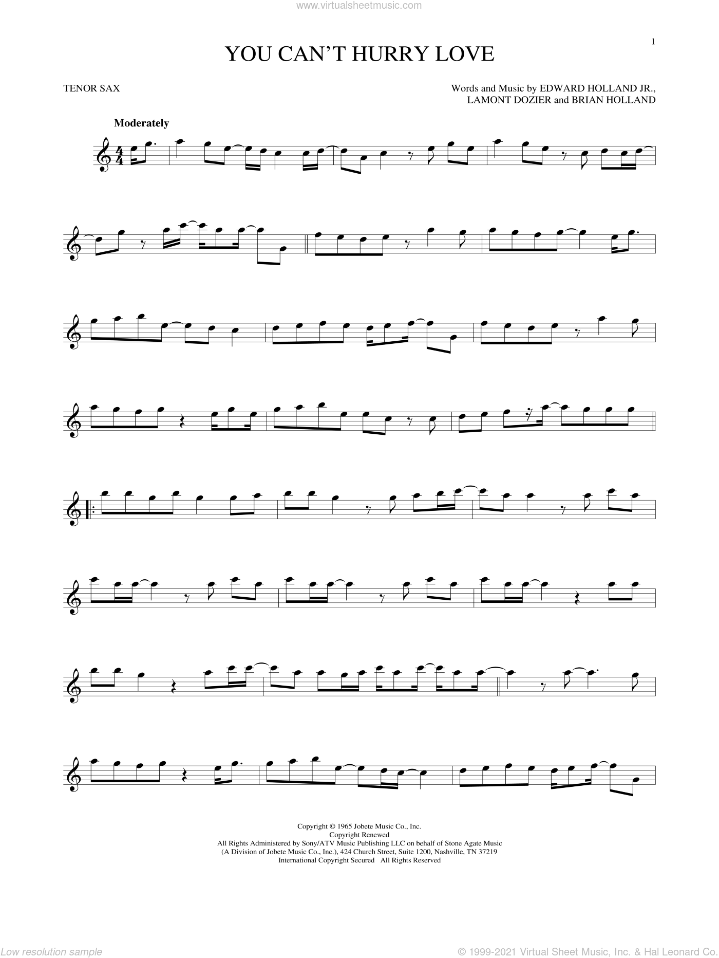 You Can't Hurry Love sheet music for tenor saxophone solo by The Supremes, Phil Collins, Brian Holland, Edward Holland Jr. and Lamont Dozier, intermediate skill level