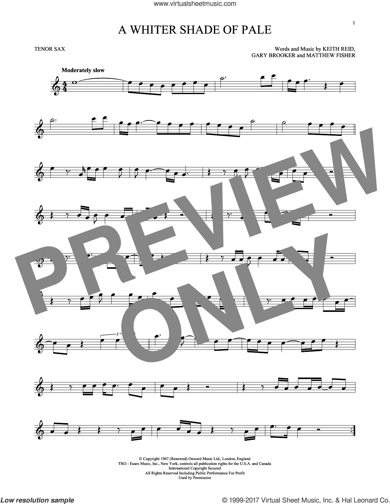A Whiter Shade Of Pale sheet music for tenor saxophone solo ( Sax) by Procol Harum, intermediate tenor saxophone ( Sax). Score Image Preview.