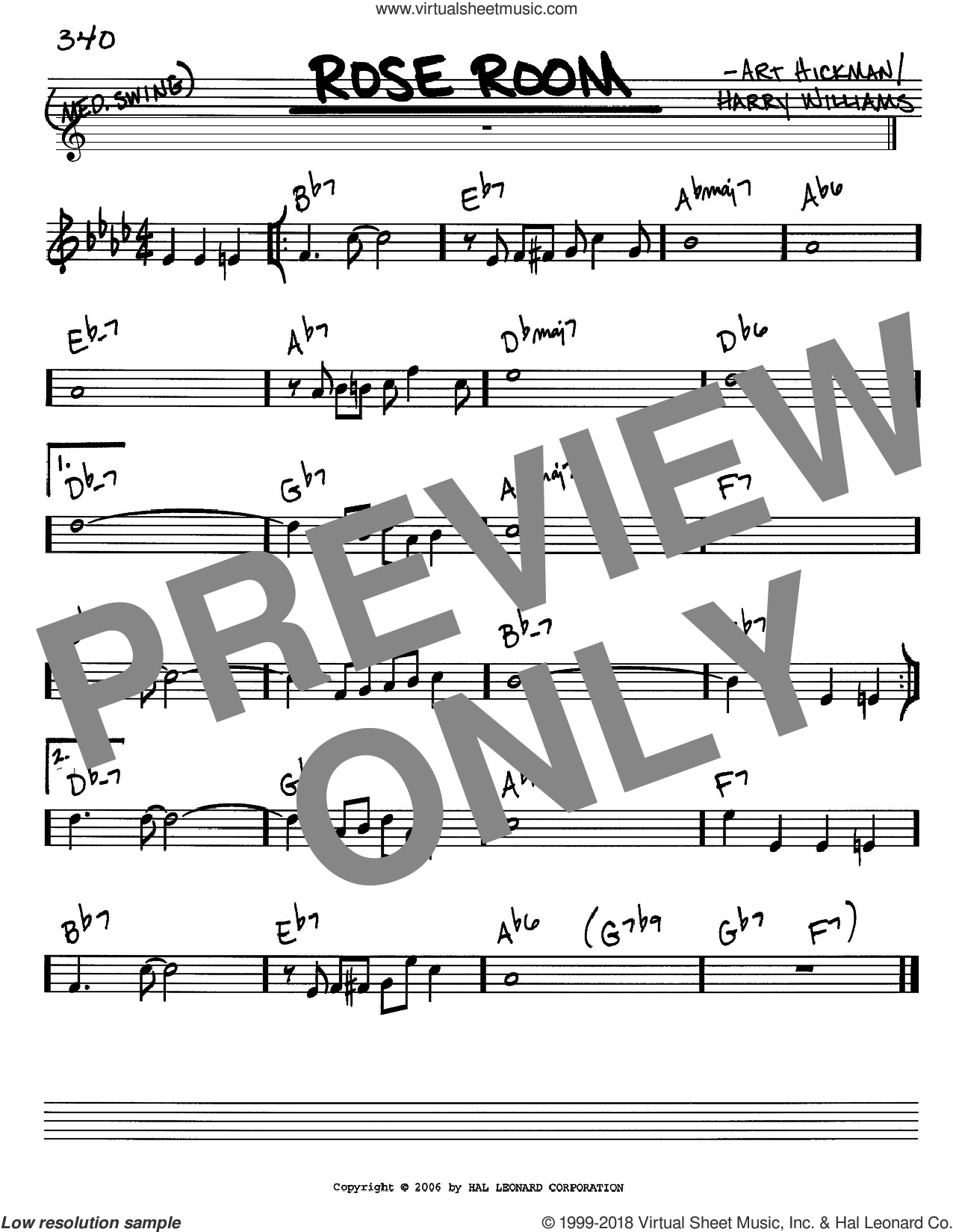 Rose Room sheet music for voice and other instruments (C) by Benny Goodman, Art Hickman and Harry Williams. Score Image Preview.