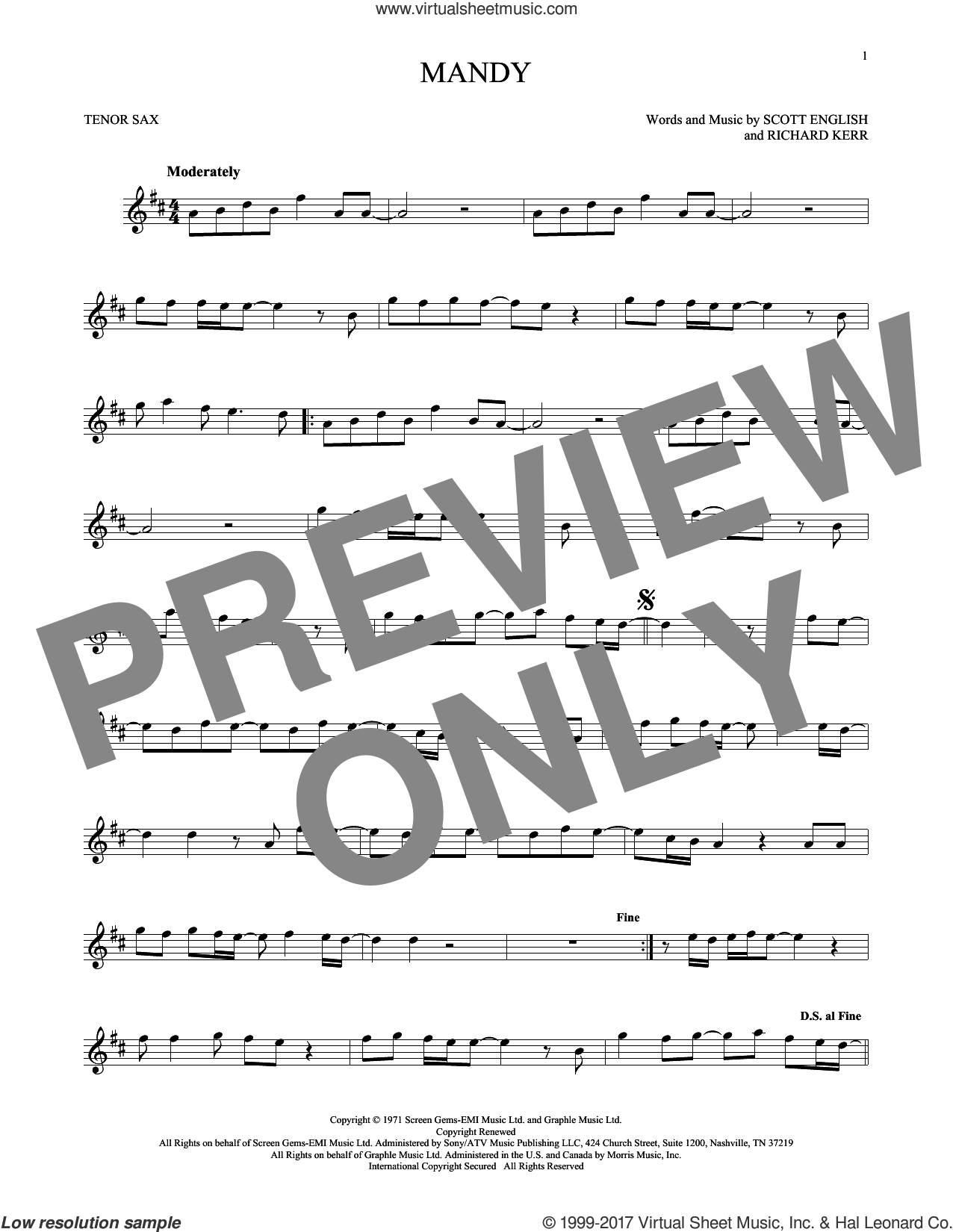 Mandy sheet music for tenor saxophone solo by Barry Manilow, Richard Kerr and Scott English, intermediate skill level