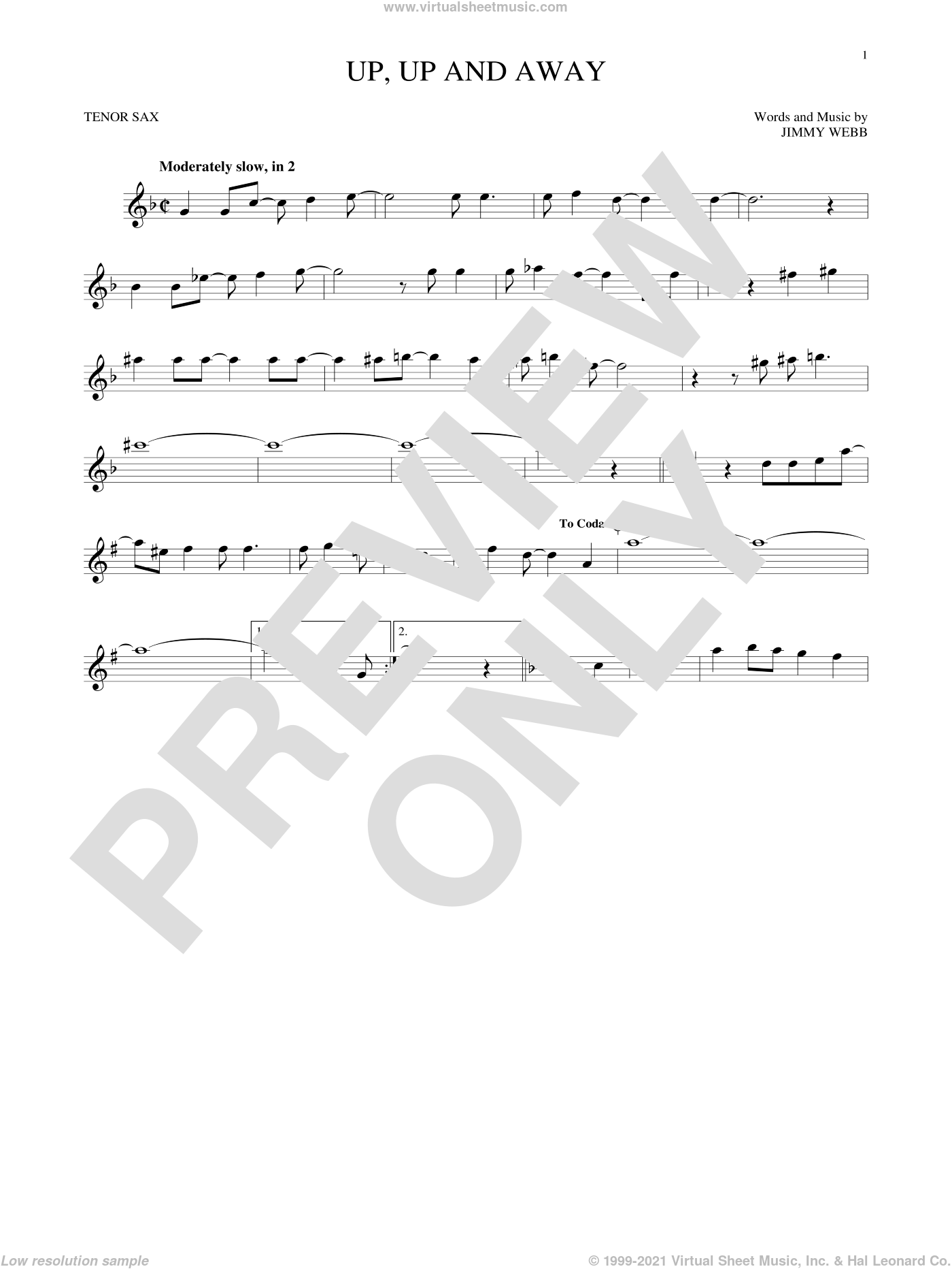 Up, Up And Away sheet music for tenor saxophone solo ( Sax) by The Fifth Dimension and Jimmy Webb. Score Image Preview.