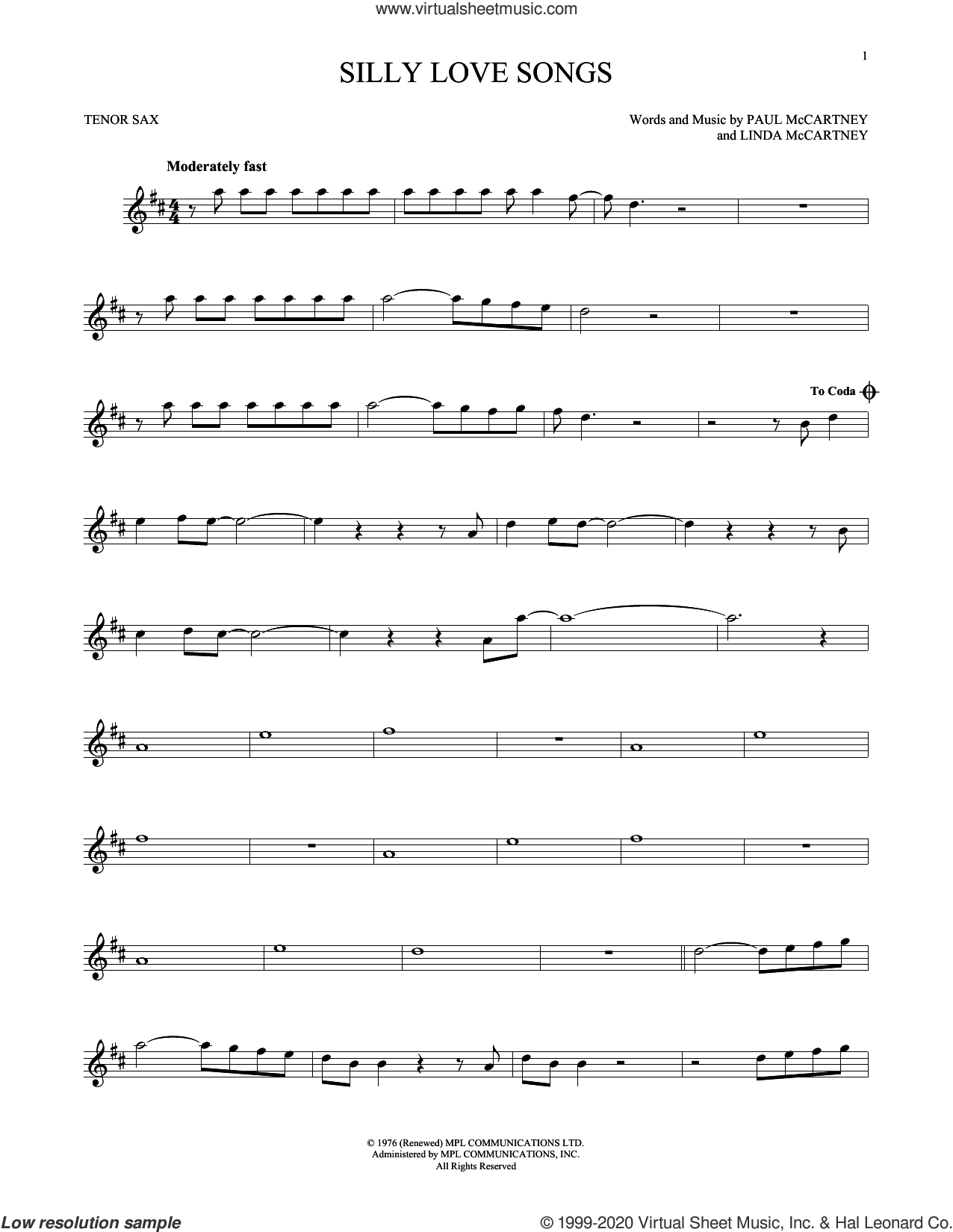 Silly Love Songs sheet music for tenor saxophone solo by Wings, Linda McCartney and Paul McCartney, intermediate skill level
