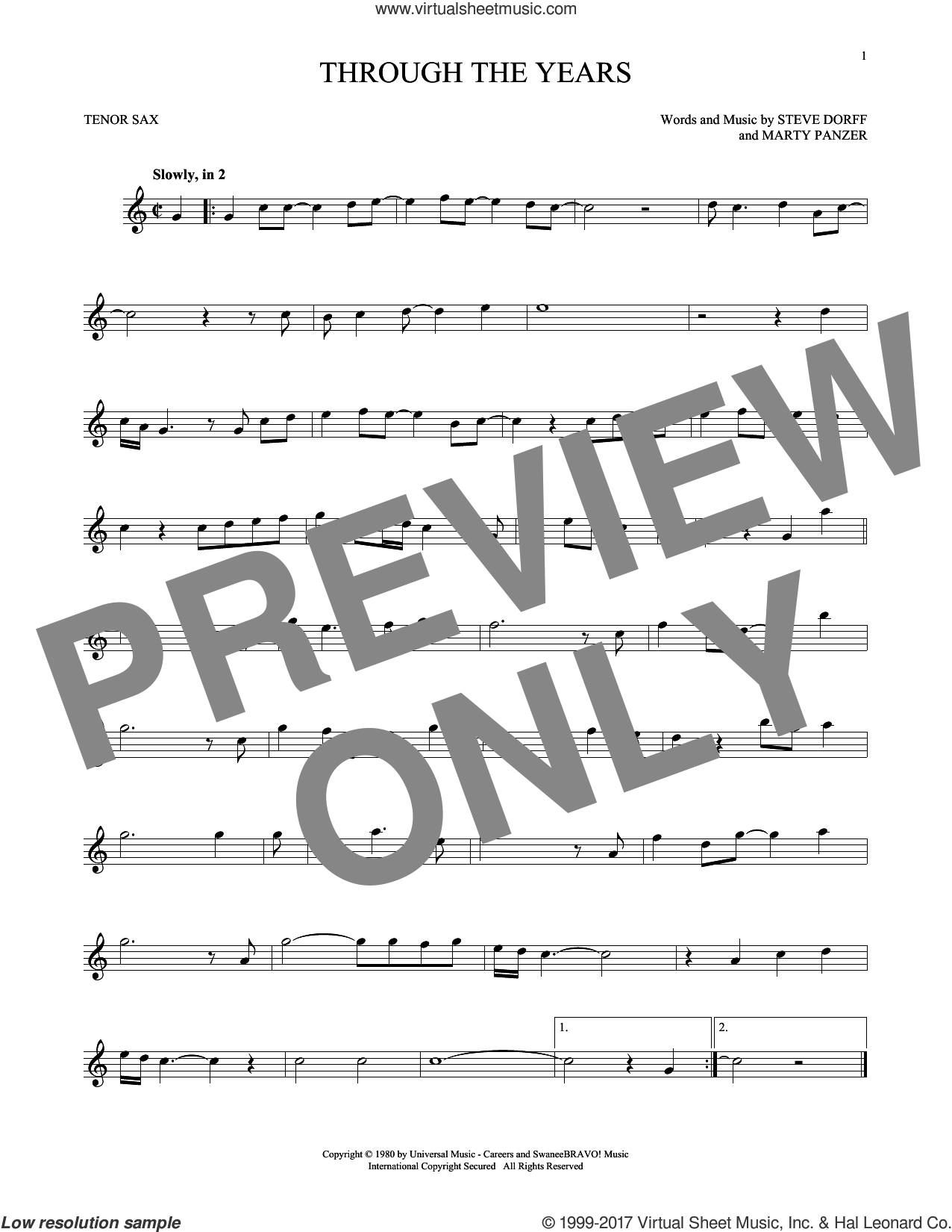 Through The Years sheet music for tenor saxophone solo by Kenny Rogers, Marty Panzer and Steve Dorff, intermediate skill level
