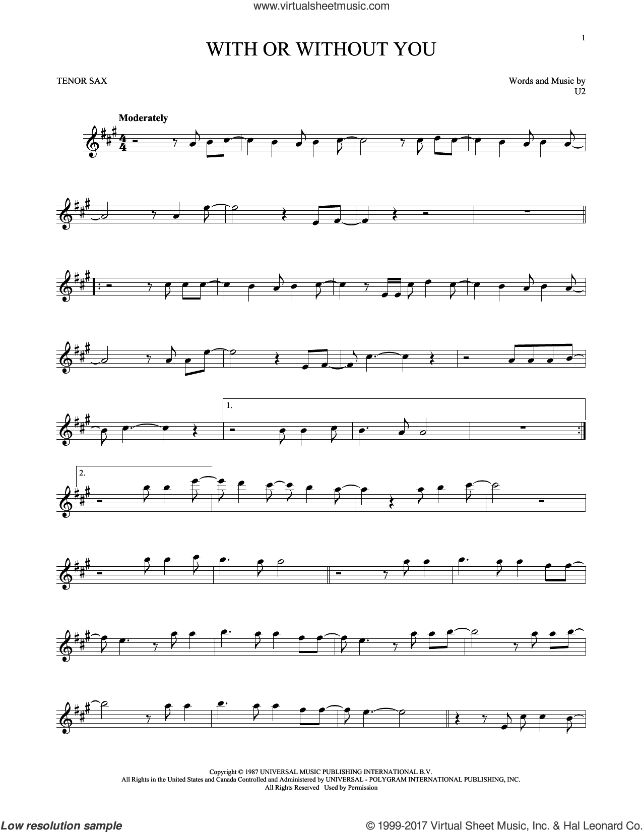 With Or Without You sheet music for tenor saxophone solo by U2, intermediate skill level