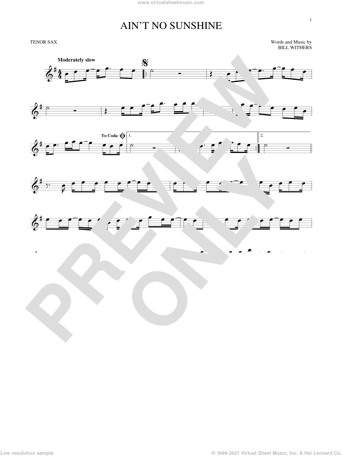 Ain't No Sunshine sheet music for tenor saxophone solo by Bill Withers, intermediate skill level