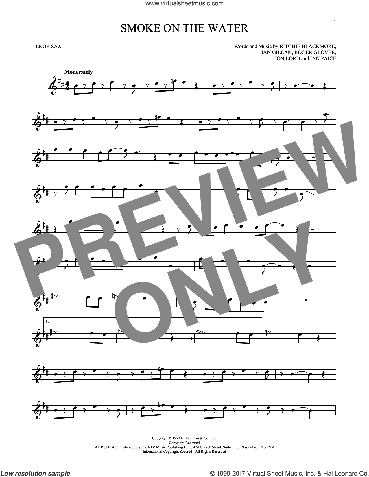 Smoke On The Water sheet music for tenor saxophone solo ( Sax) by Deep Purple, intermediate tenor saxophone ( Sax). Score Image Preview.