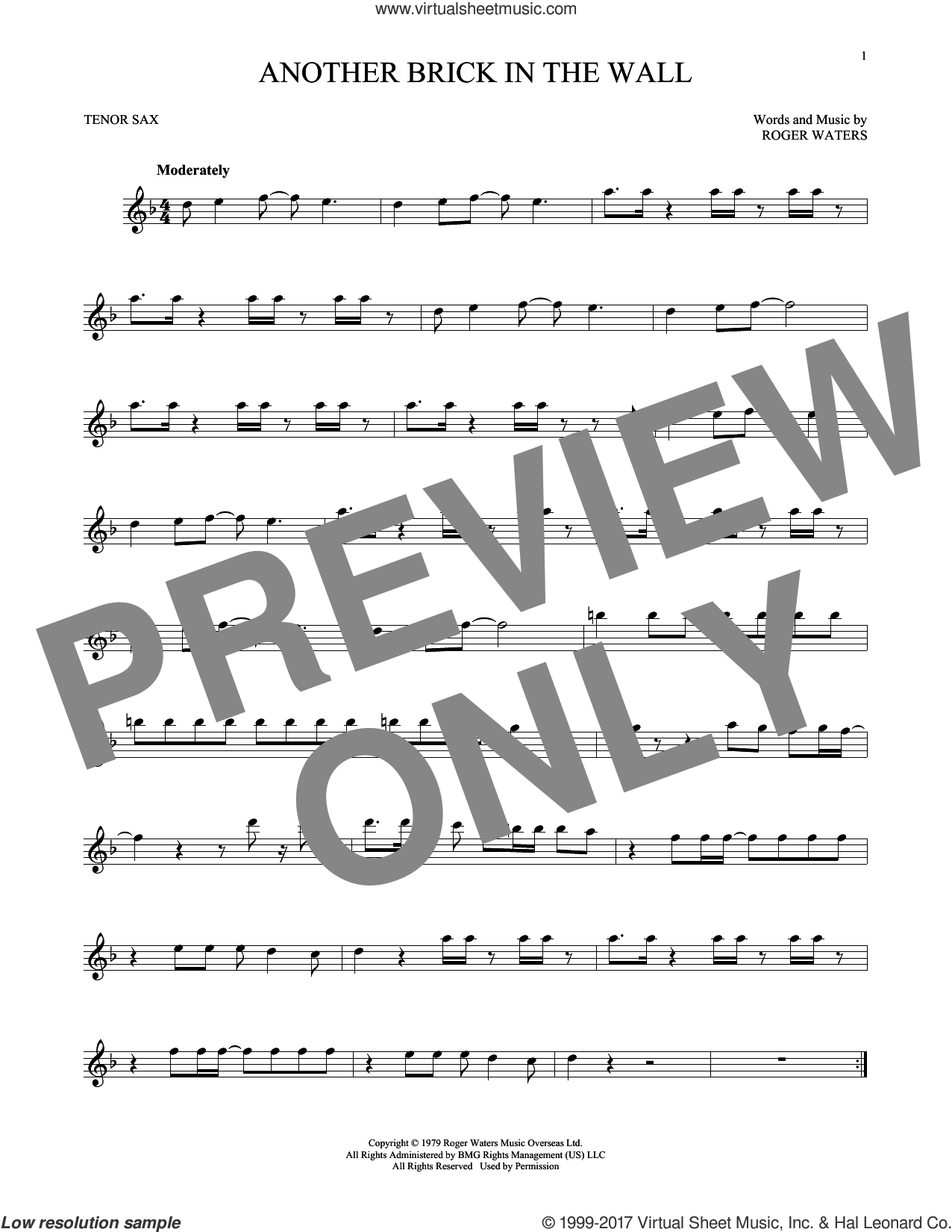 Another Brick In The Wall sheet music for tenor saxophone solo by Pink Floyd, Korn and Roger Waters, intermediate skill level