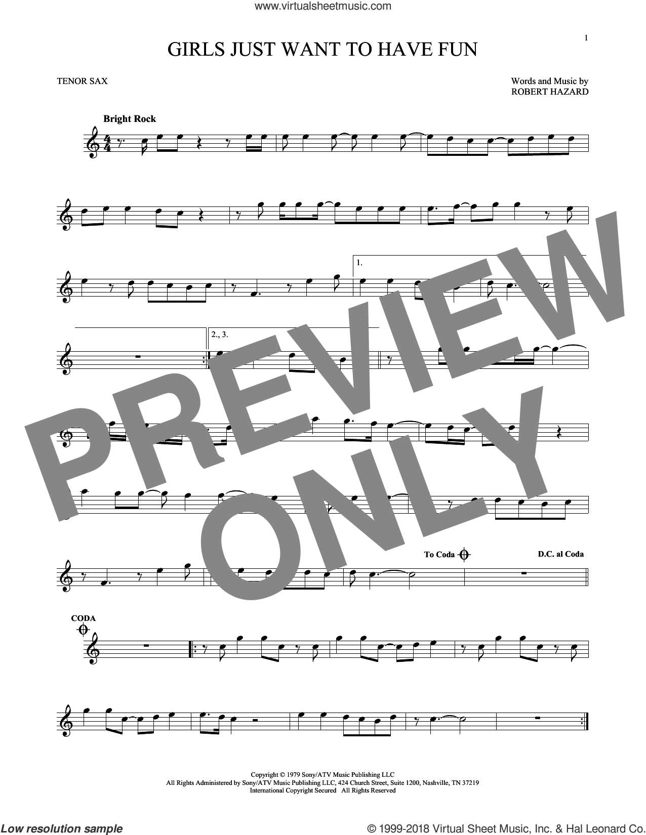 Girls Just Want To Have Fun sheet music for tenor saxophone solo by Cyndi Lauper and Robert Hazard, intermediate skill level