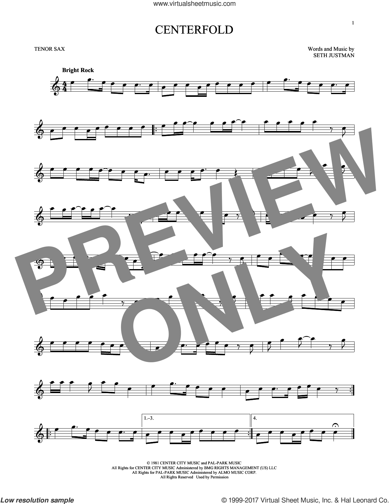 Centerfold sheet music for tenor saxophone solo by J. Geils Band, intermediate skill level