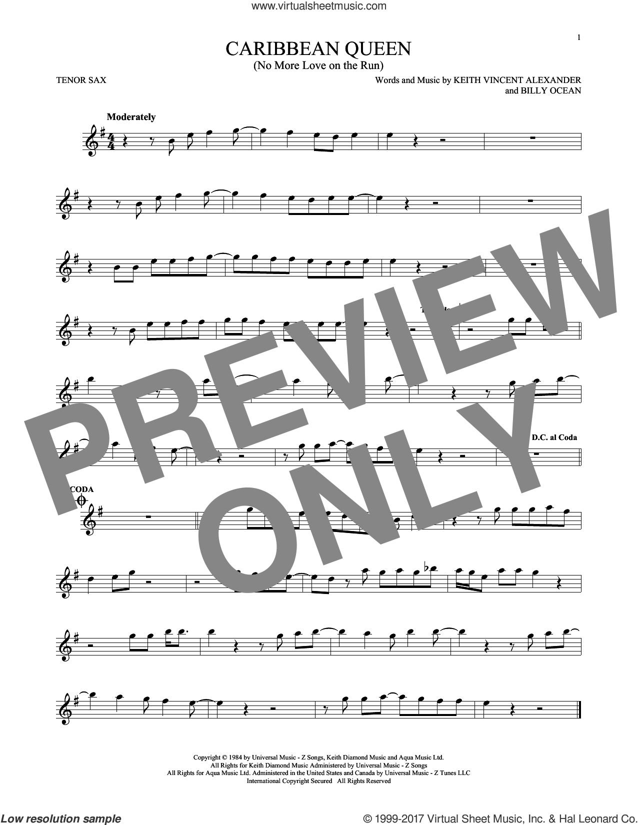 Caribbean Queen (No More Love On The Run) sheet music for tenor saxophone solo ( Sax) by Billy Ocean and Keith Vincent Alexander, intermediate tenor saxophone ( Sax)