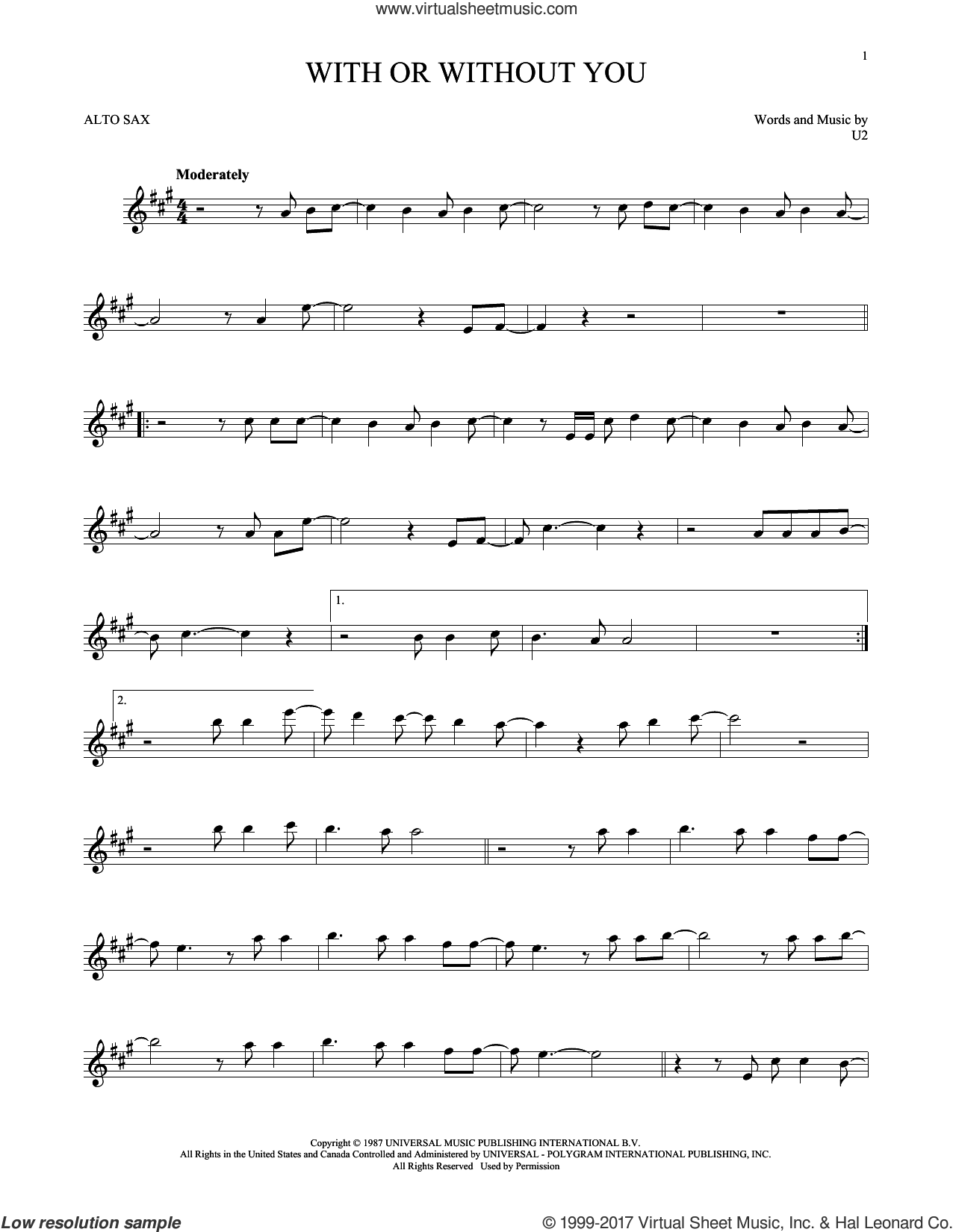 With Or Without You sheet music for alto saxophone solo by U2, intermediate skill level