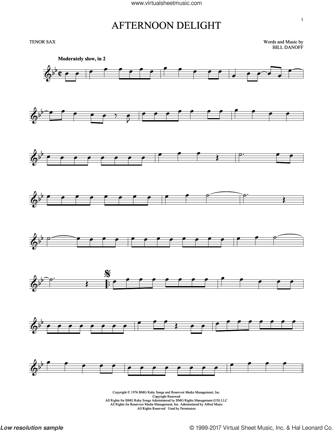 Afternoon Delight sheet music for tenor saxophone solo by Starland Vocal Band and Bill Danoff, intermediate skill level