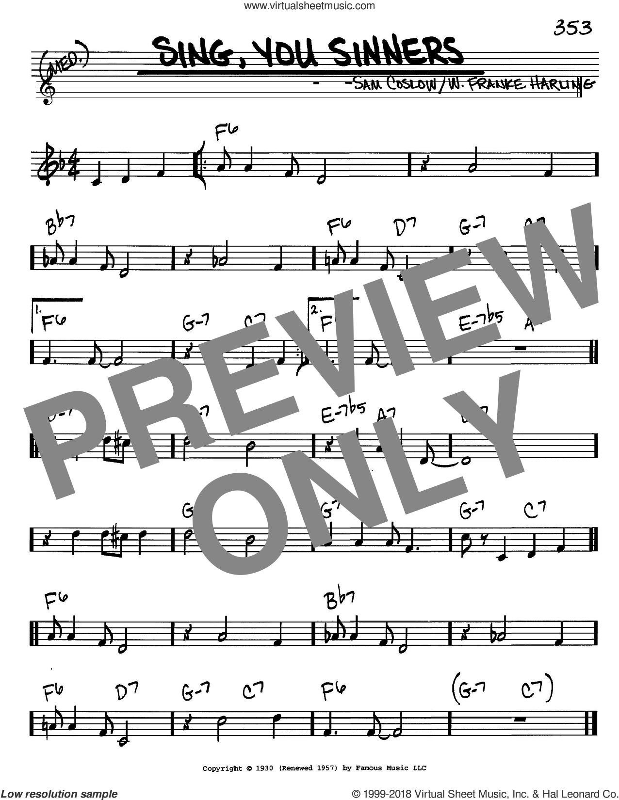 Sing, You Sinners sheet music for voice and other instruments (in C) by Sam Coslow and W. Franke Harling, intermediate skill level