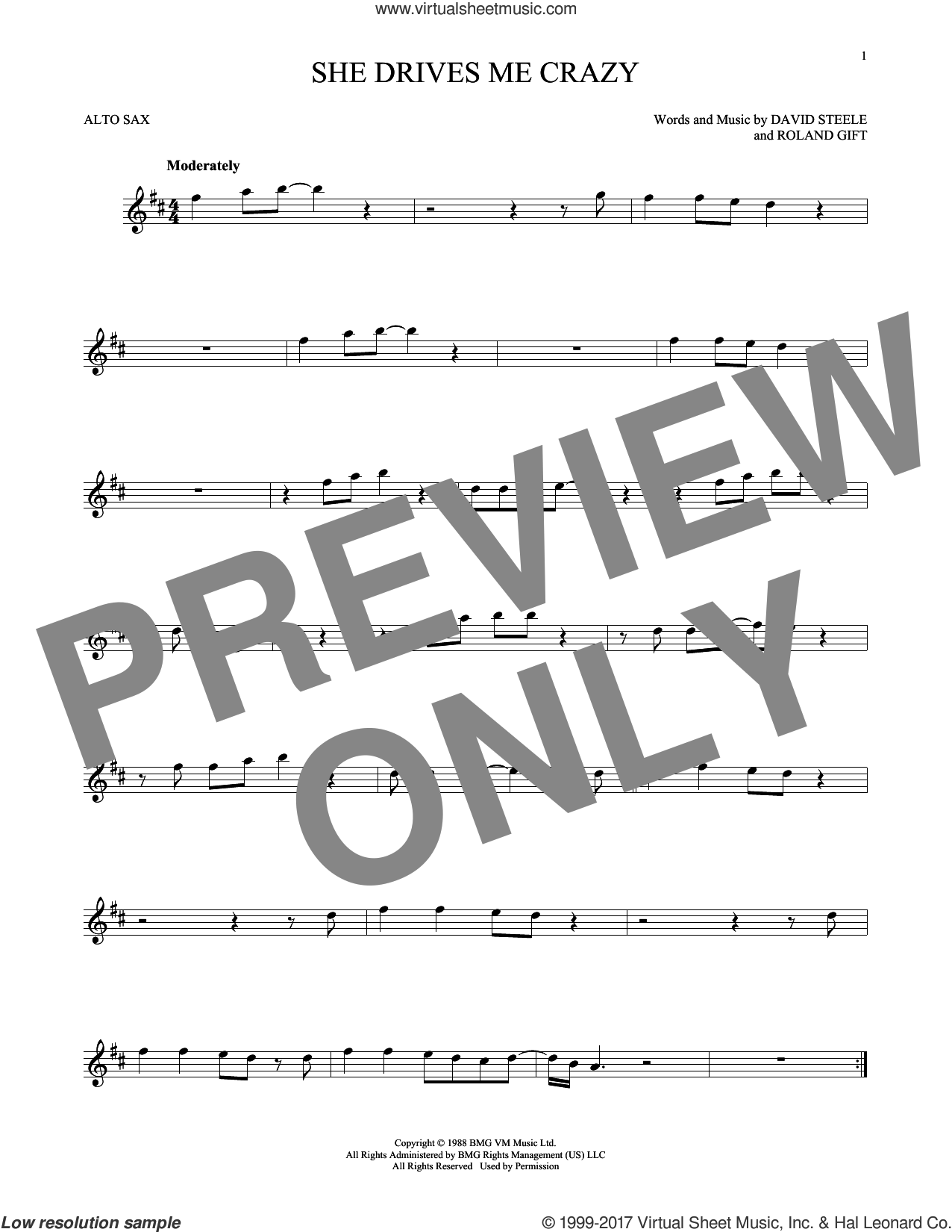 She Drives Me Crazy sheet music for alto saxophone solo ( Sax) by Fine Young Cannibals, intermediate alto saxophone ( Sax). Score Image Preview.