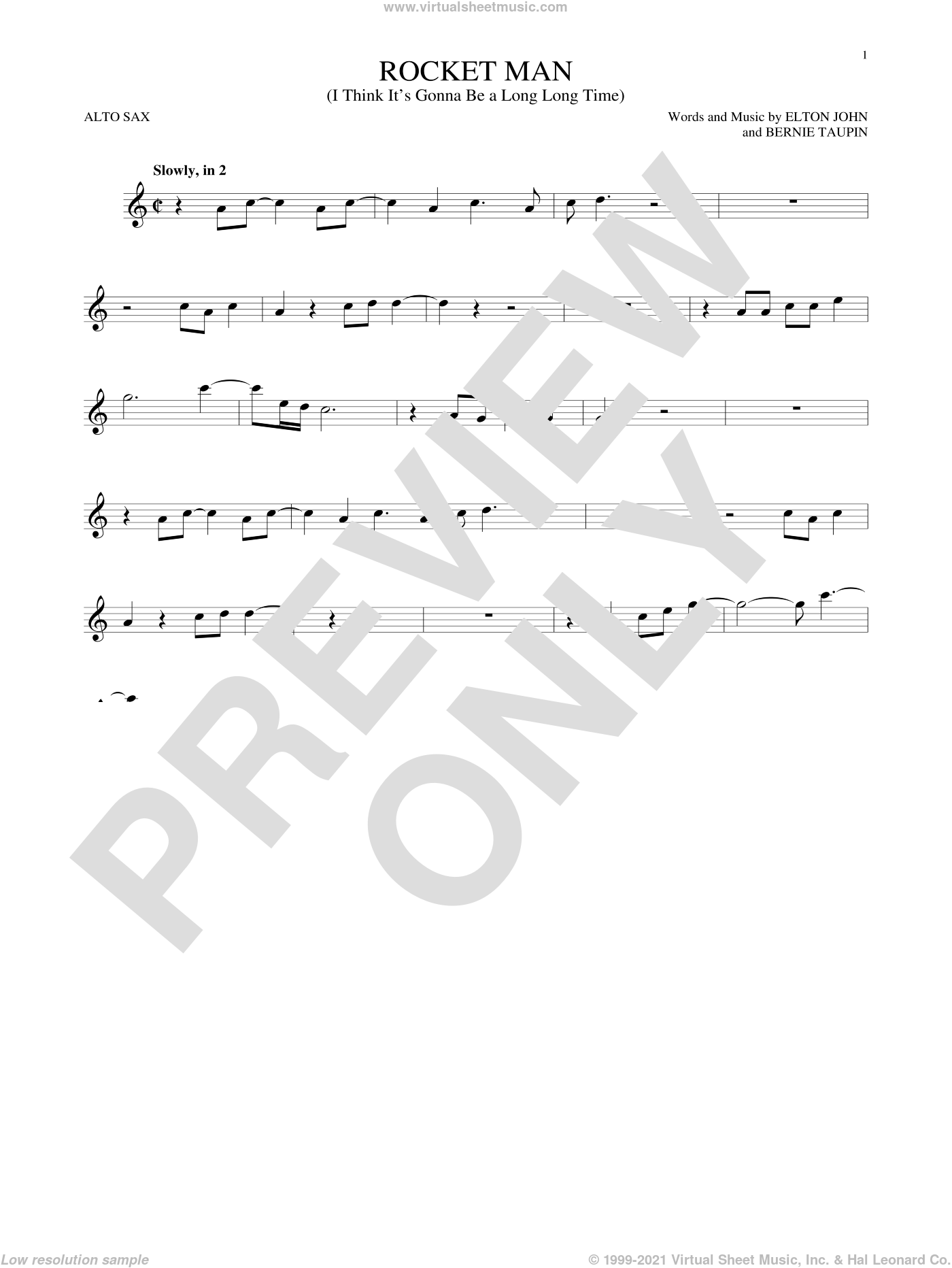 Rocket Man (I Think It's Gonna Be A Long Long Time) sheet music for alto saxophone solo by Elton John and Bernie Taupin, intermediate skill level