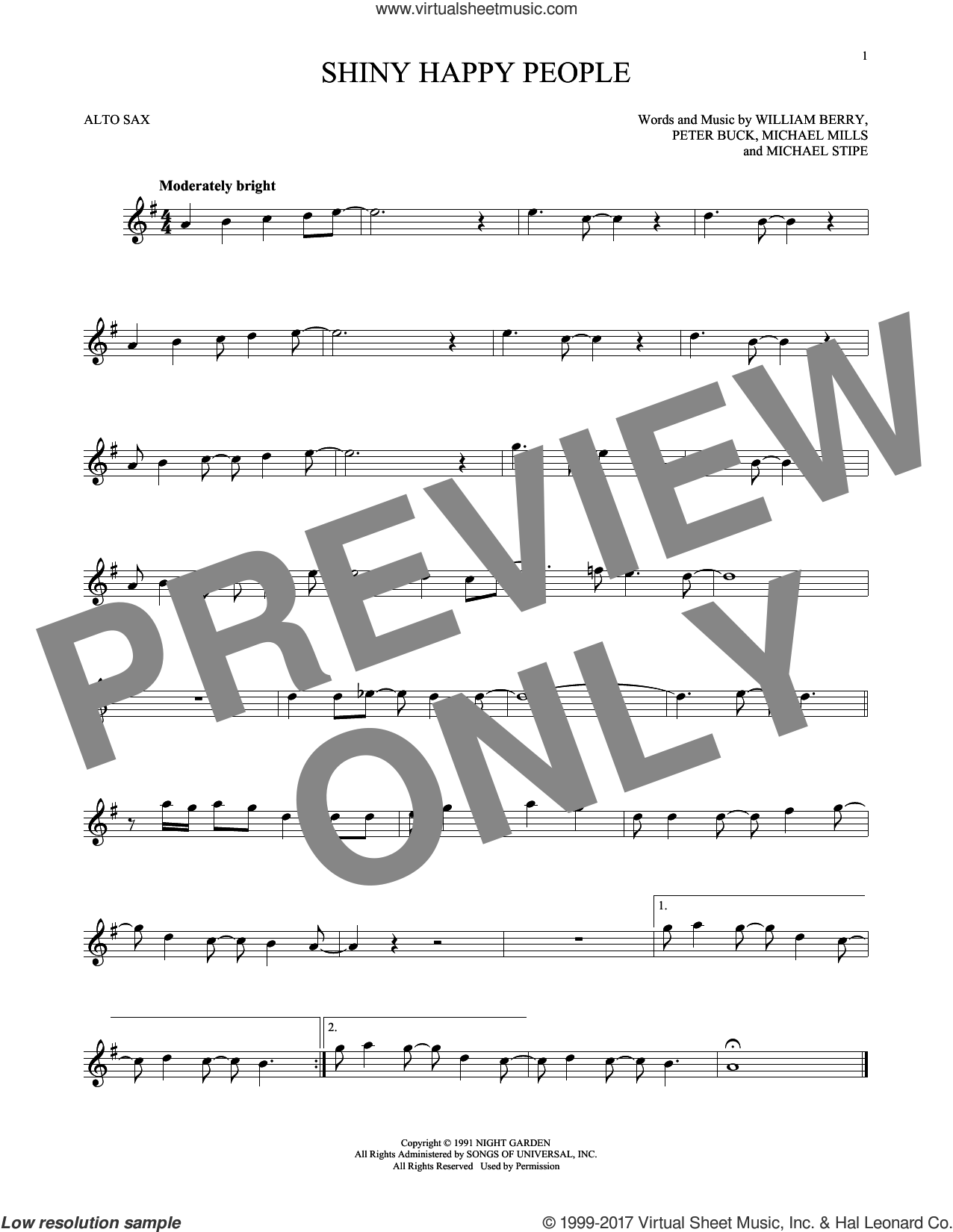 Shiny Happy People sheet music for alto saxophone solo by R.E.M., Michael Stipe, Mike Mills, Peter Buck and William Berry, intermediate skill level