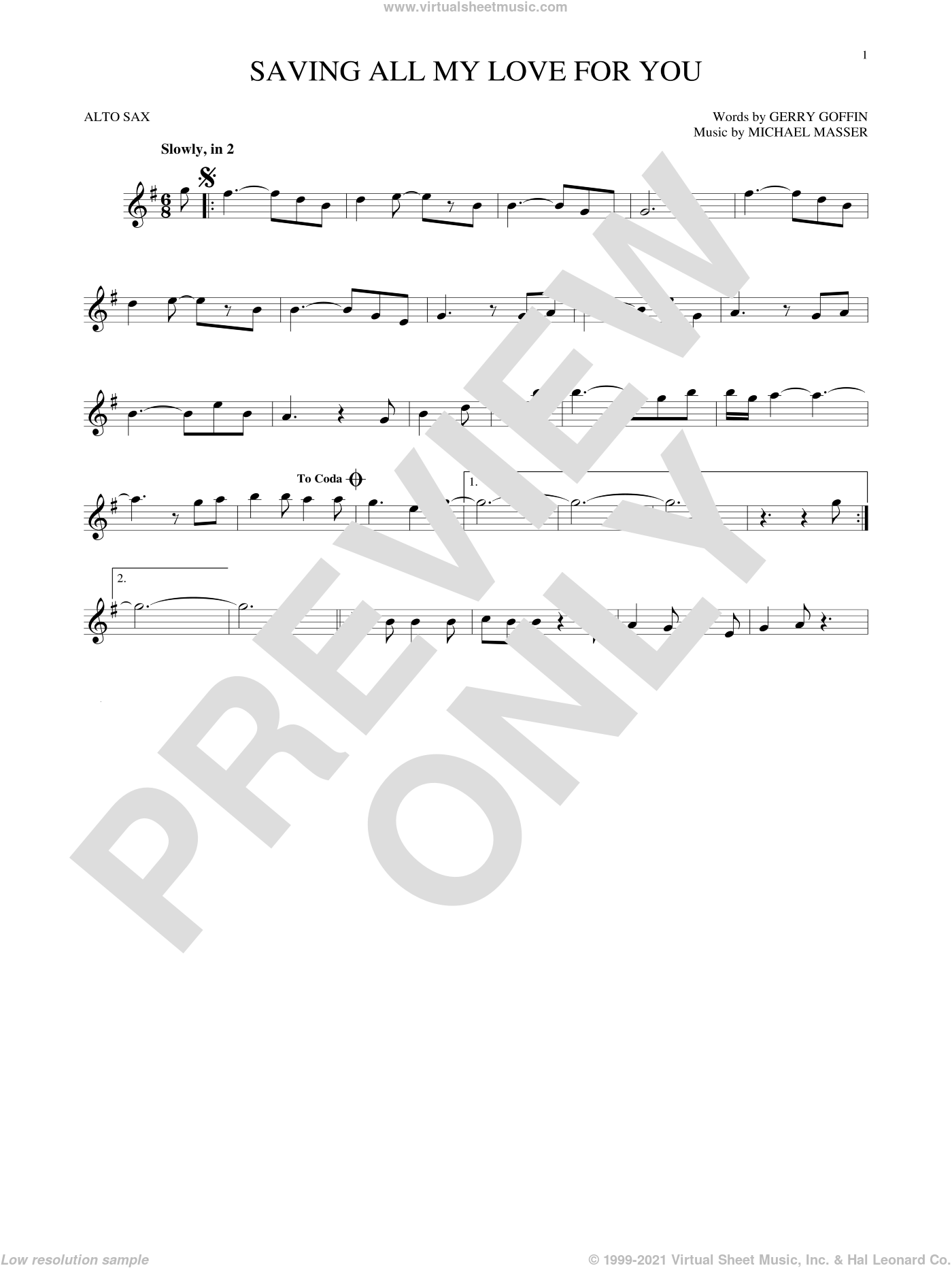 Saving All My Love For You sheet music for alto saxophone solo by Whitney Houston, Gerry Goffin and Michael Masser, intermediate skill level