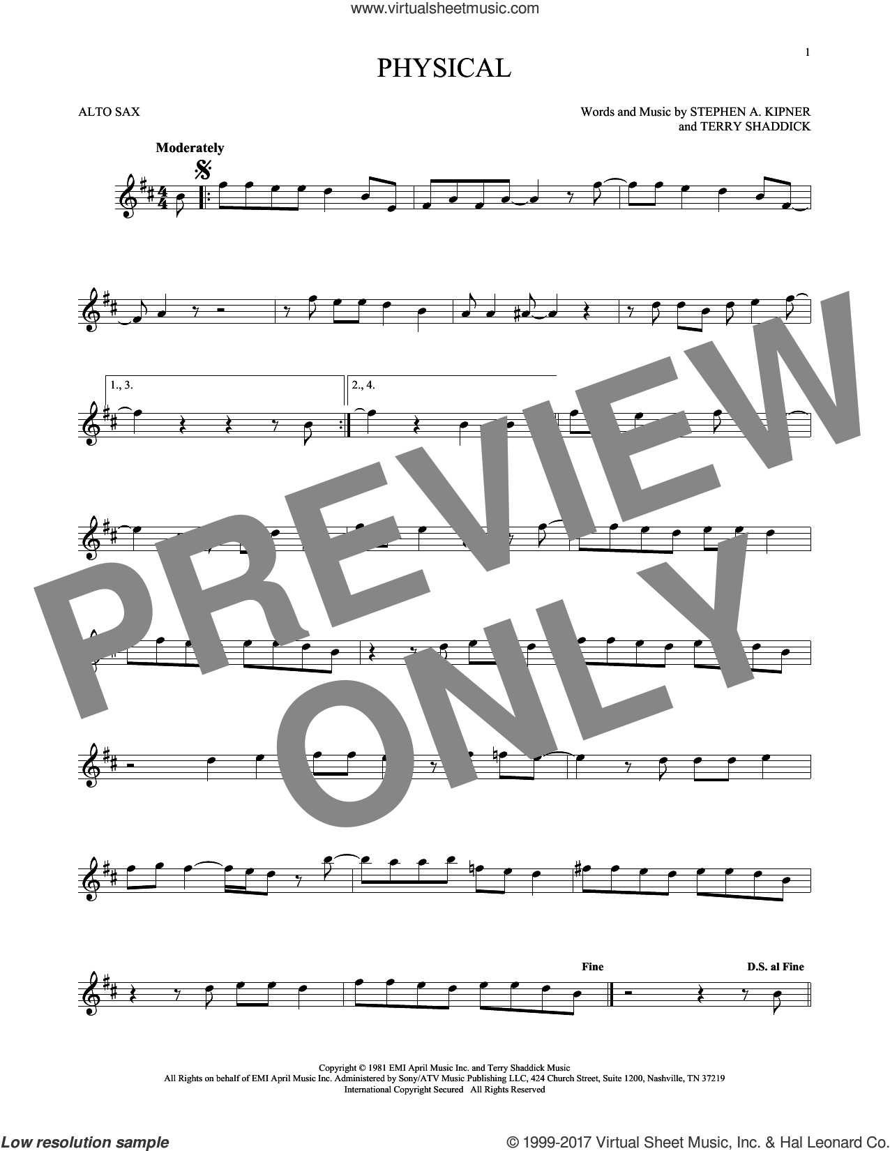 Physical sheet music for alto saxophone solo by Olivia Newton-John, Stephen A. Kipner and Terry Shaddick, intermediate skill level