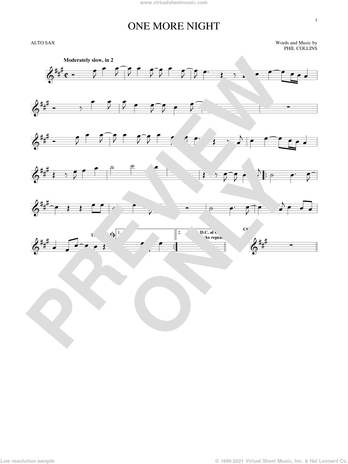 One More Night sheet music for alto saxophone solo by Phil Collins, intermediate skill level