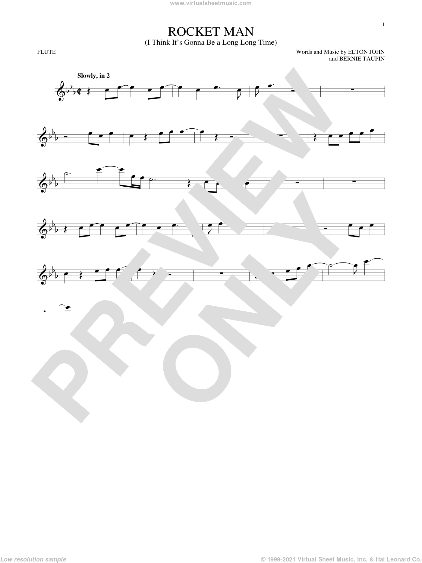 Rocket Man (I Think It's Gonna Be A Long Long Time) sheet music for flute solo by Elton John and Bernie Taupin, intermediate skill level